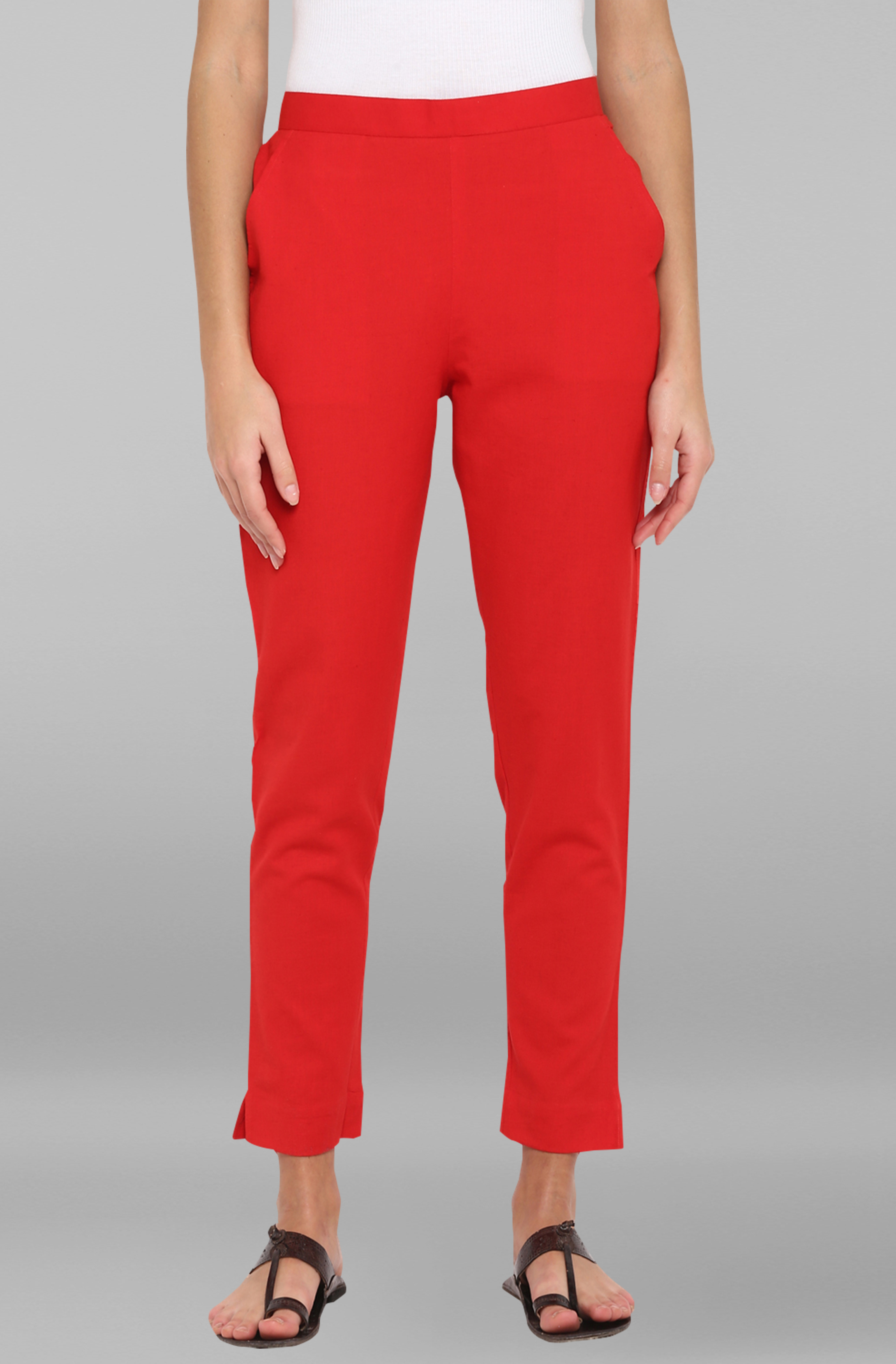 Janasya | Janasya Women's Red Pure Cotton Narrow Pant