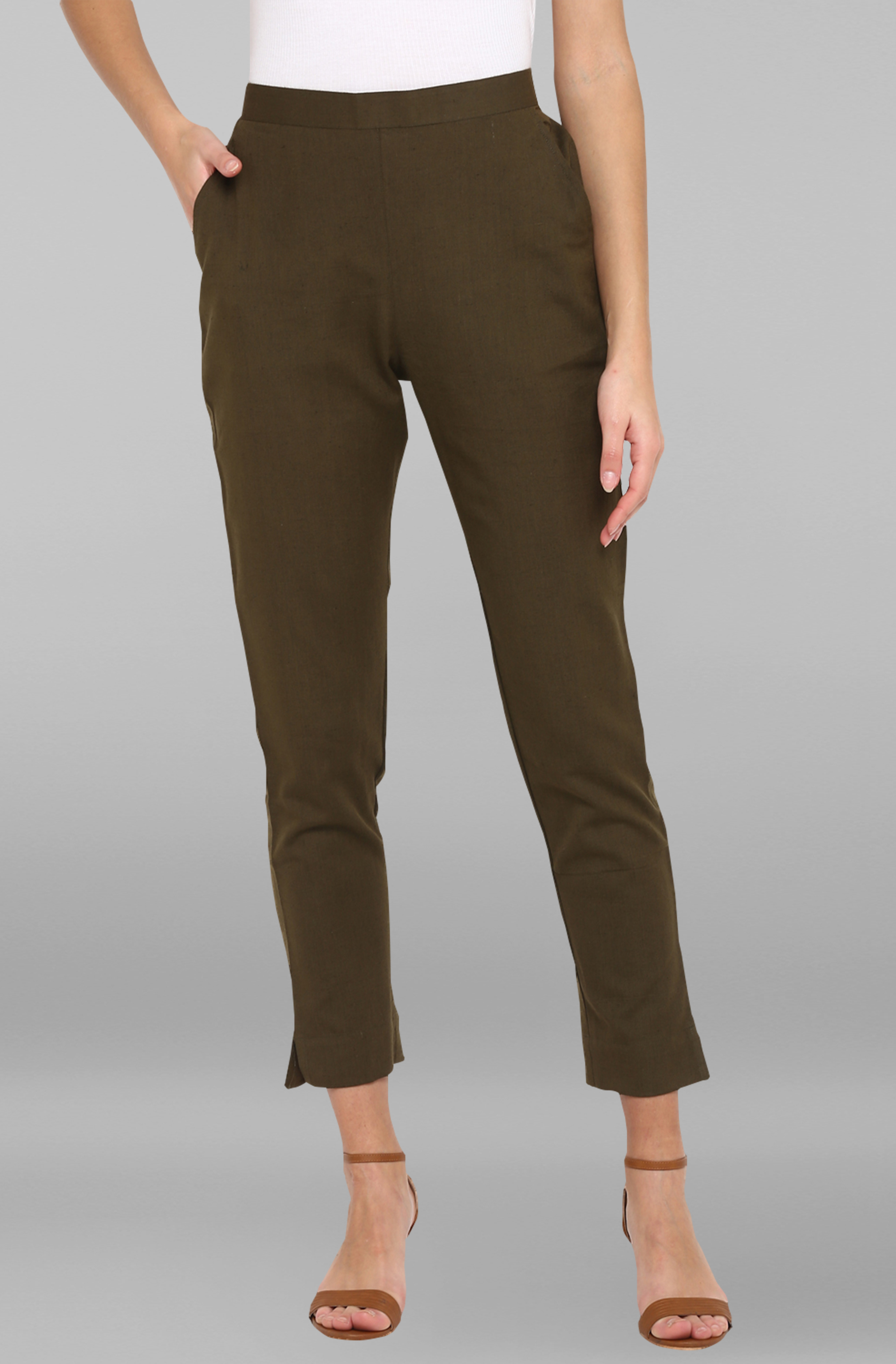 Janasya | Janasya Women's Dark Green Pure Cotton Narrow Pant