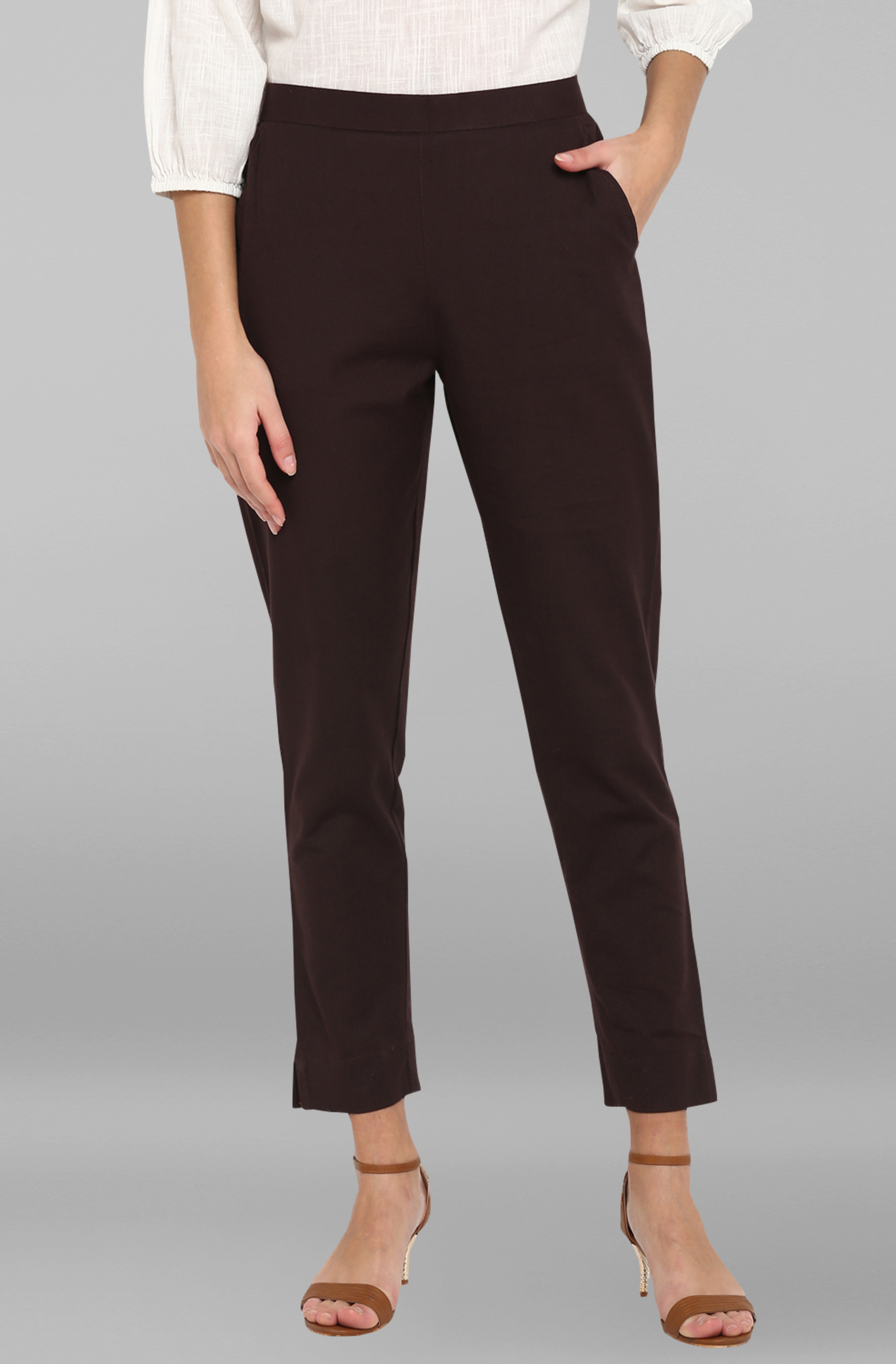 Janasya | Janasya Women's Brown Pure Cotton Narrow Pant