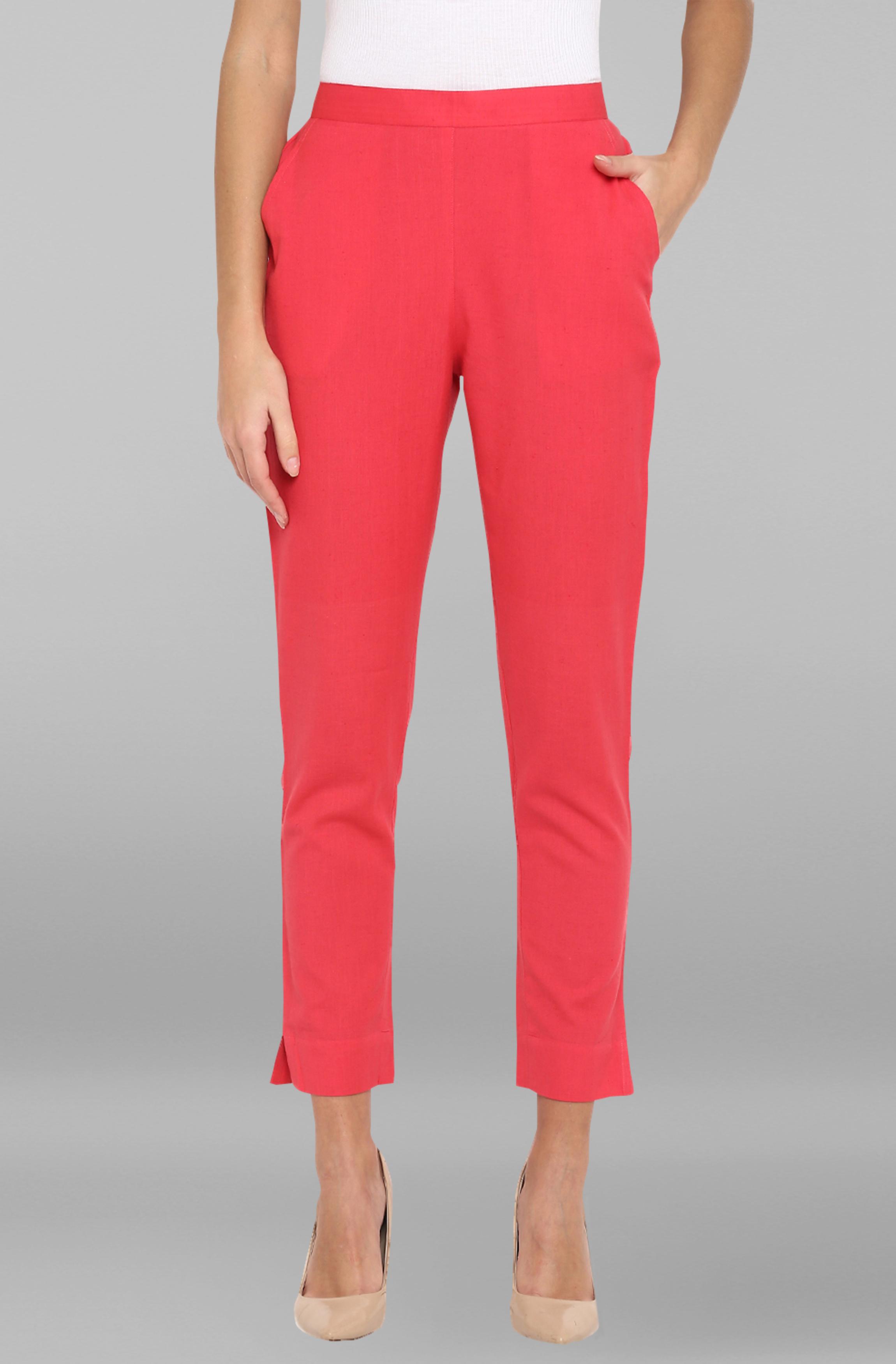 Janasya | Janasya Women's Pink Pure Cotton Narrow Pant