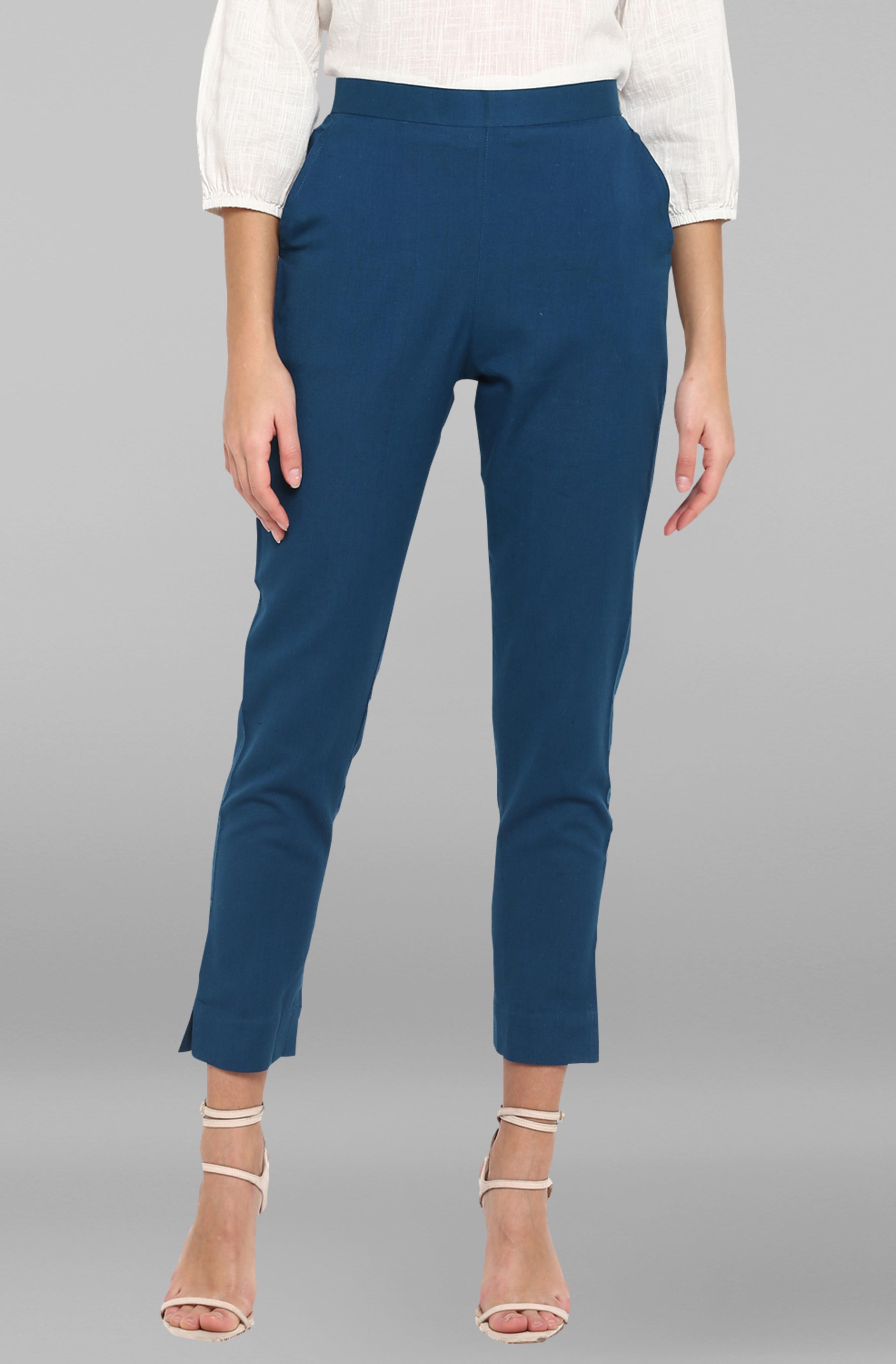 Janasya | Janasya Women's Turquoise Blue Pure Cotton Narrow Pant