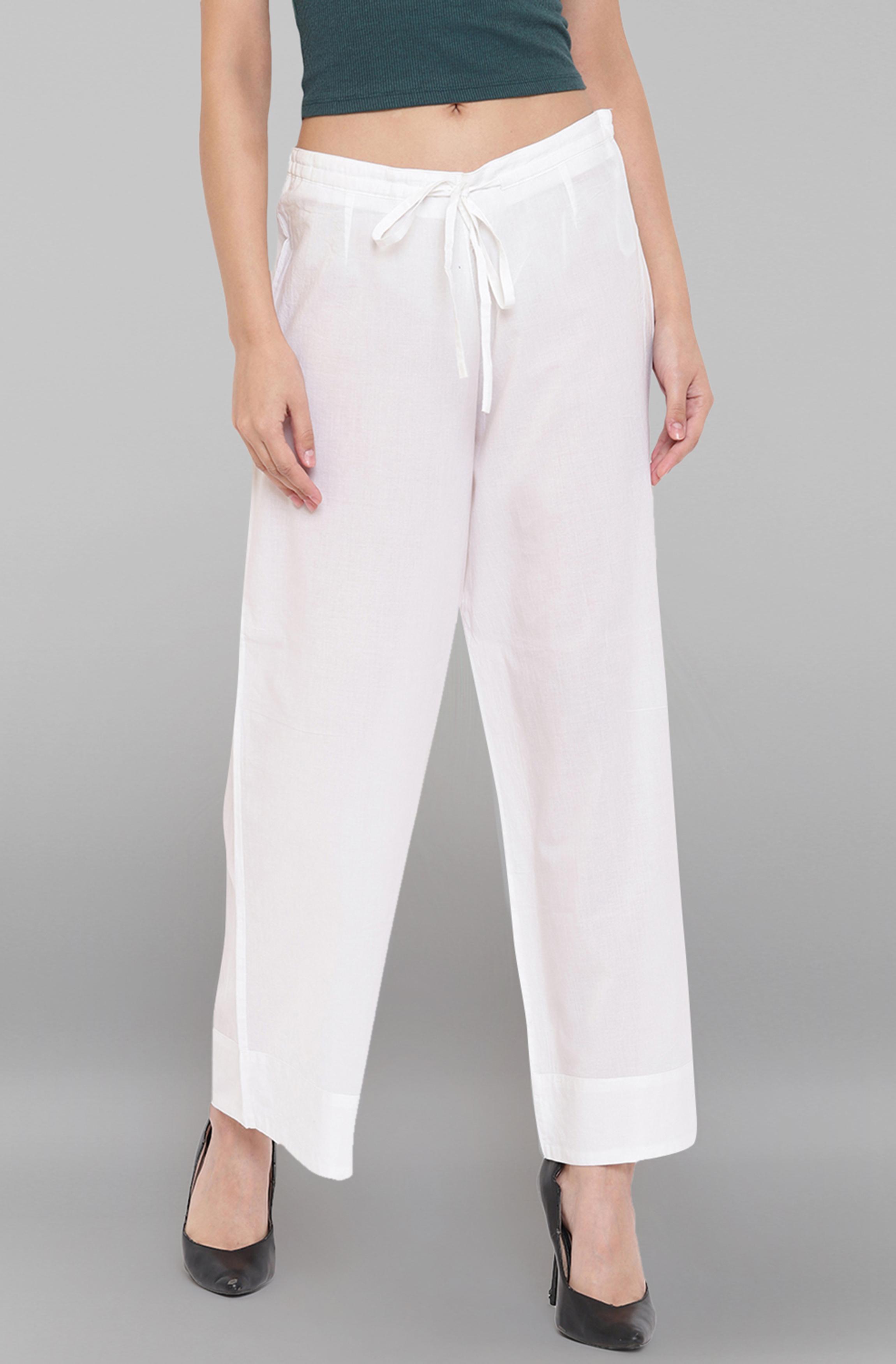 Janasya | Janasya Women's White Pure Cotton Palazzo Pant
