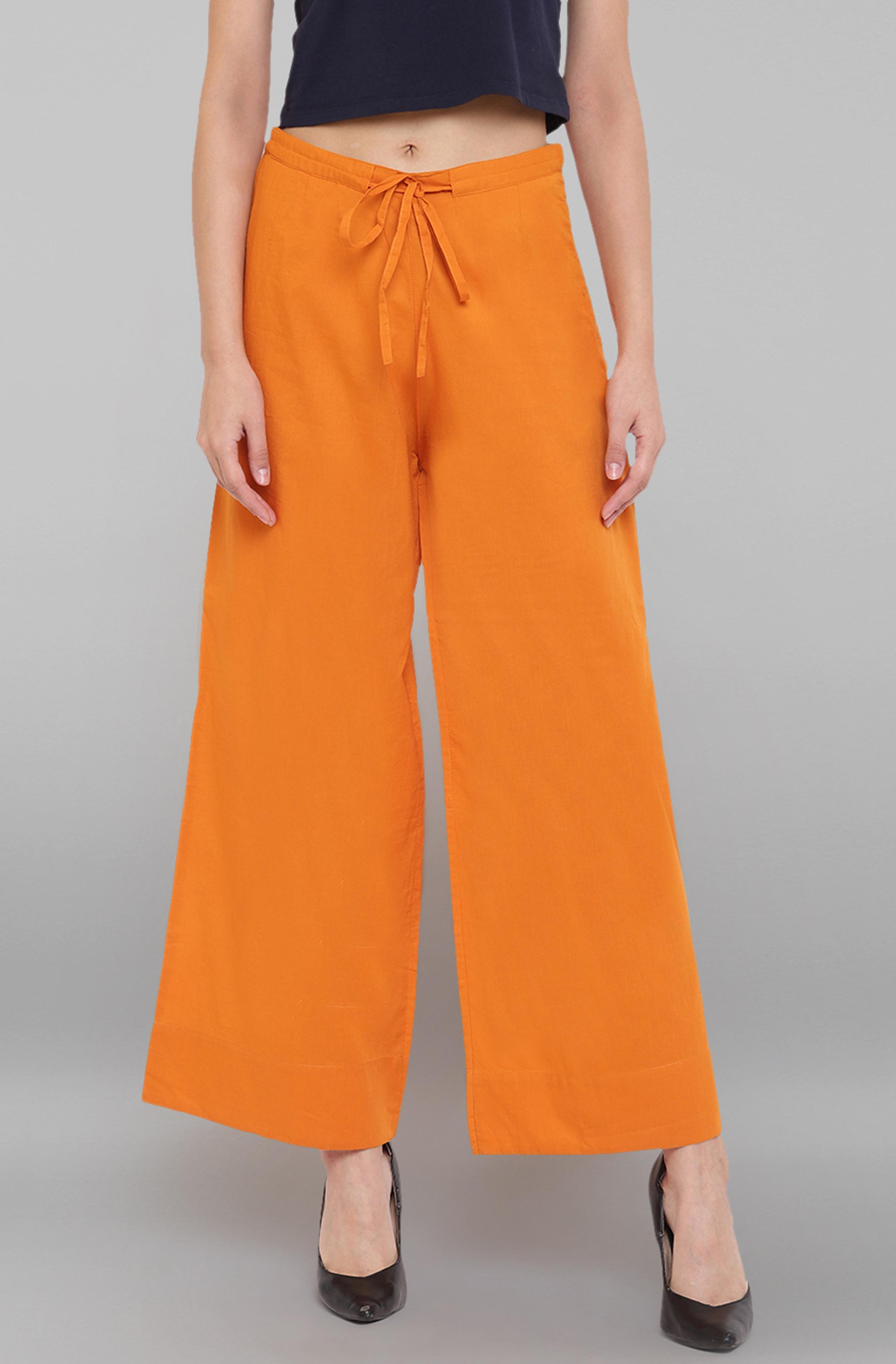 Janasya | Janasya Women's Orange Pure Cotton Palazzo Pant