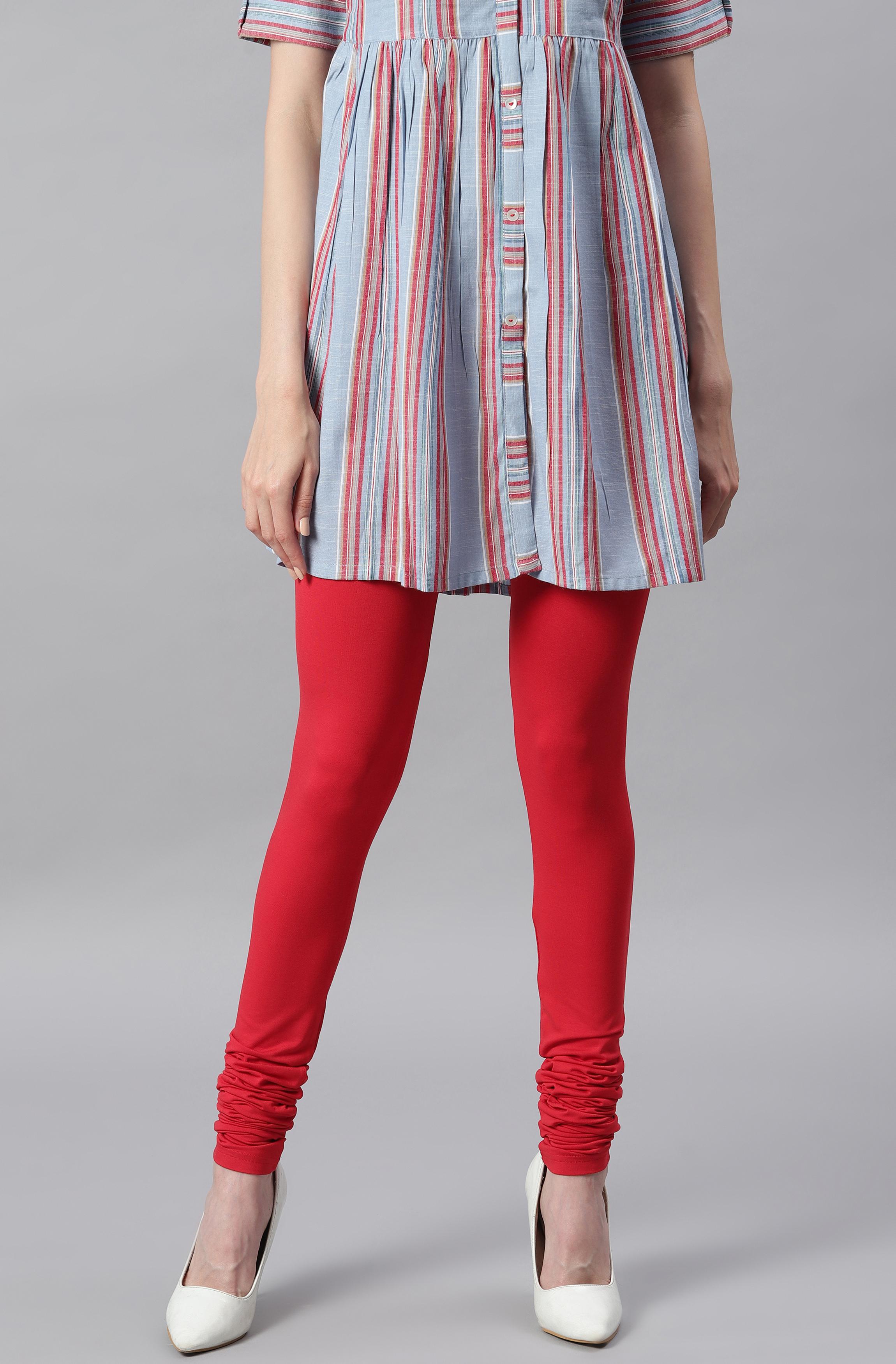 Janasya   Janasya Women's Red Viscose Lycra Leggings