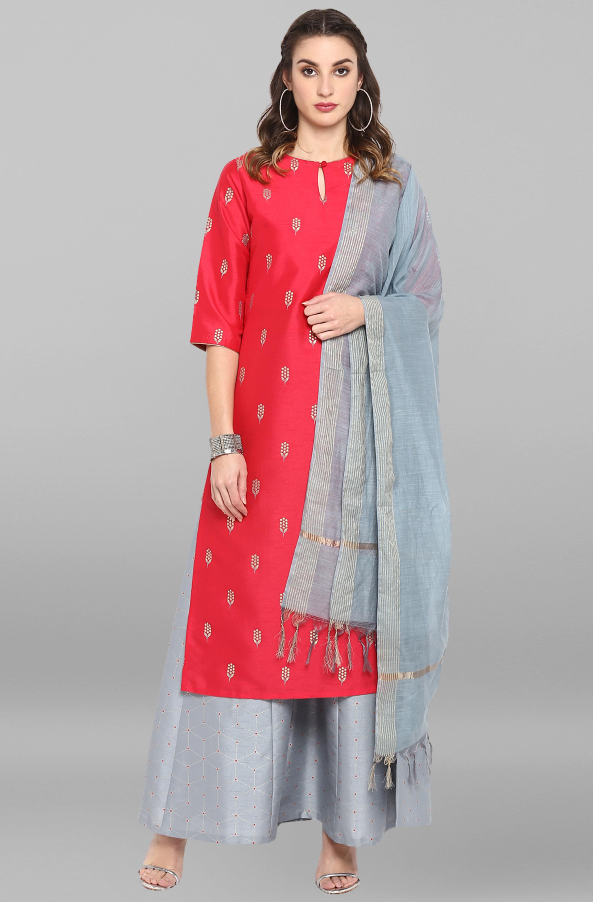 Janasya | Janasya Women's Red Poly Silk Kurta With Palazzo and Dupatta