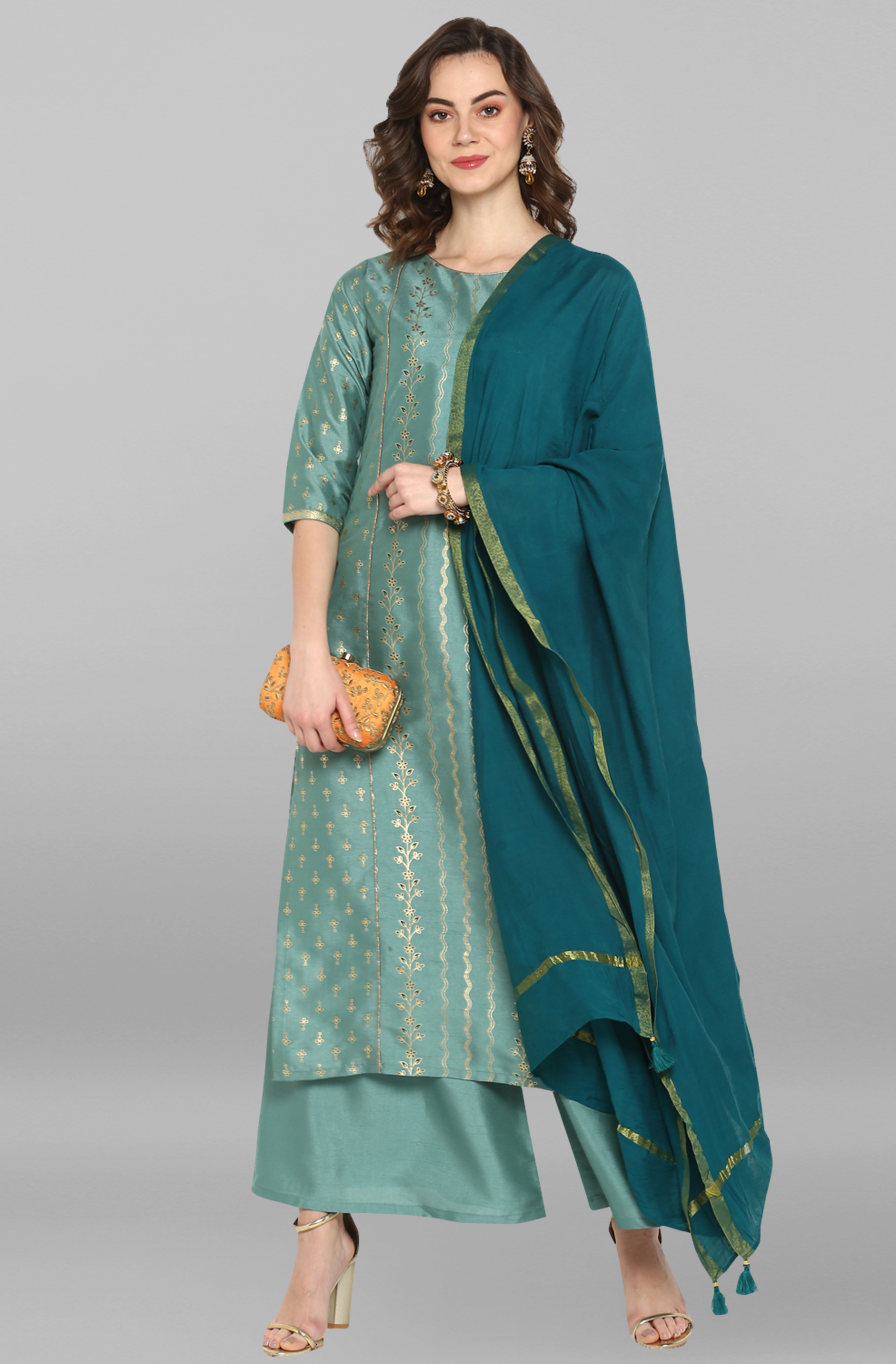 Janasya | Janasya Women's Light Green Poly Silk Kurta With Palazzo and Dupatta