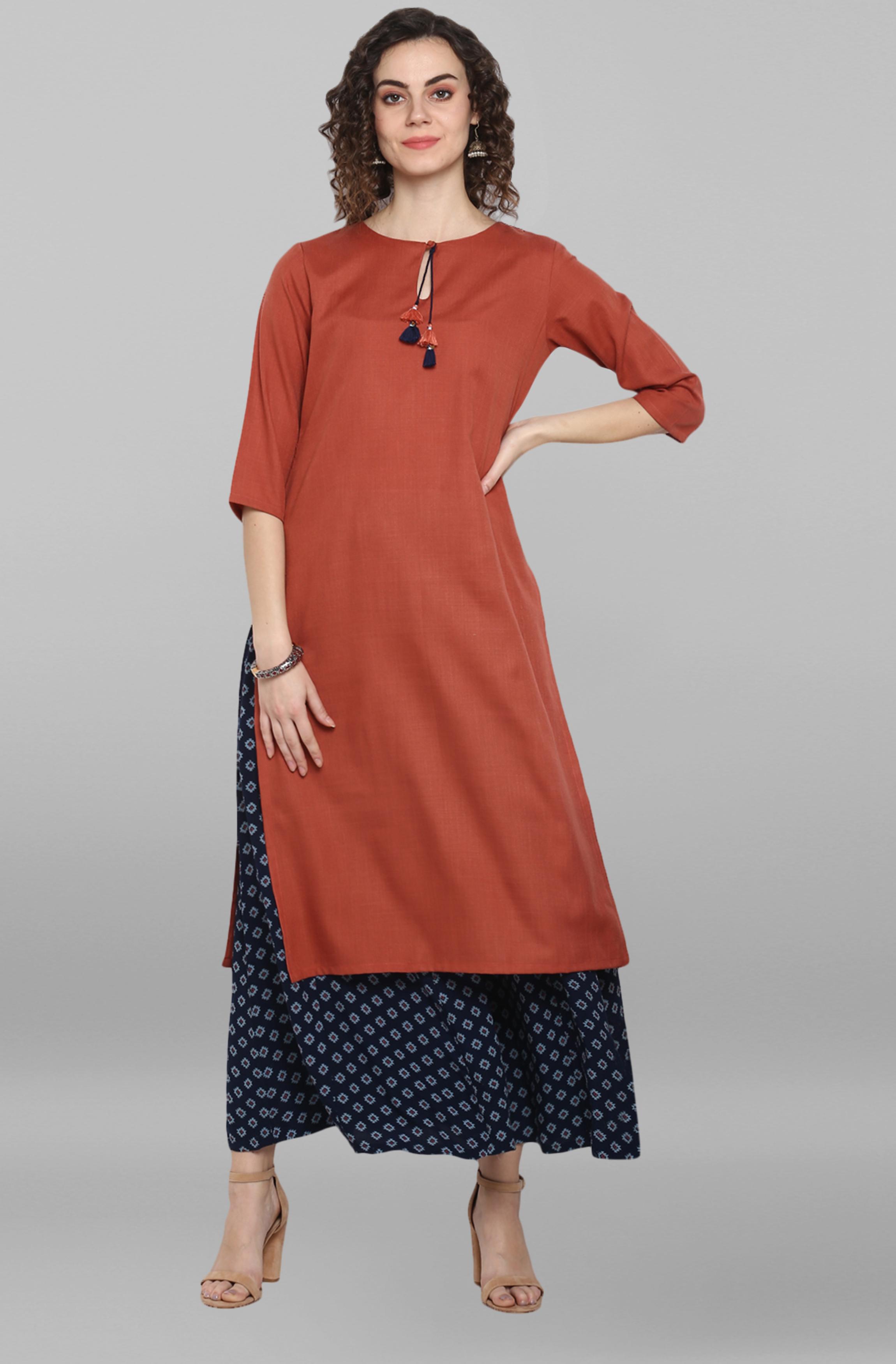Janasya | Janasya Women's Red Rayon Flex Kurta With Palazzo
