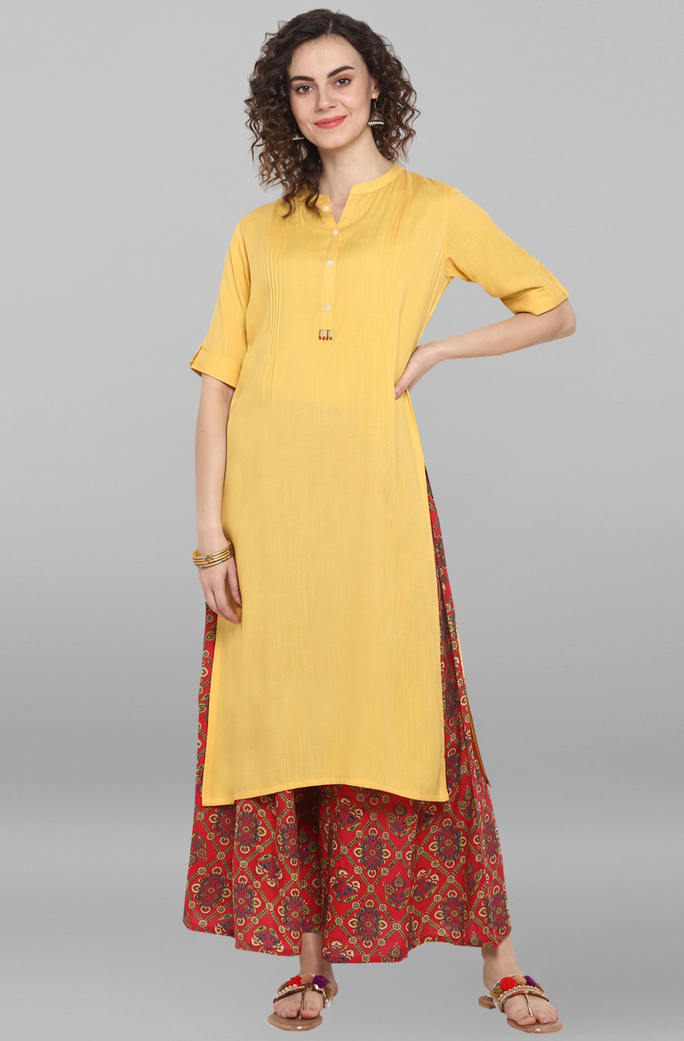 Janasya | Janasya Women's Yellow Rayon Kurta With Palazzo