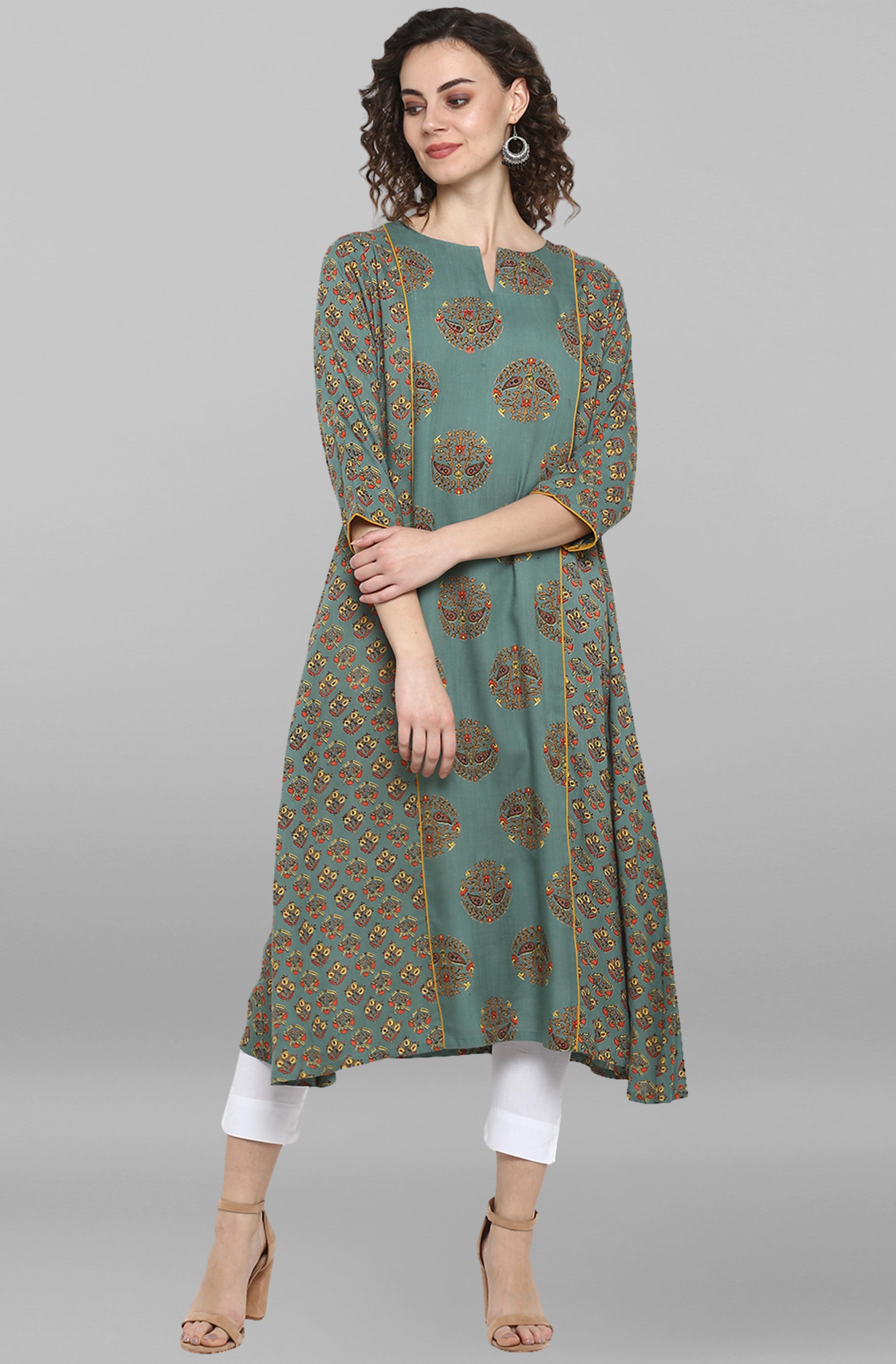 Janasya | Janasya Women's Turquoise Green Rayon Kurta