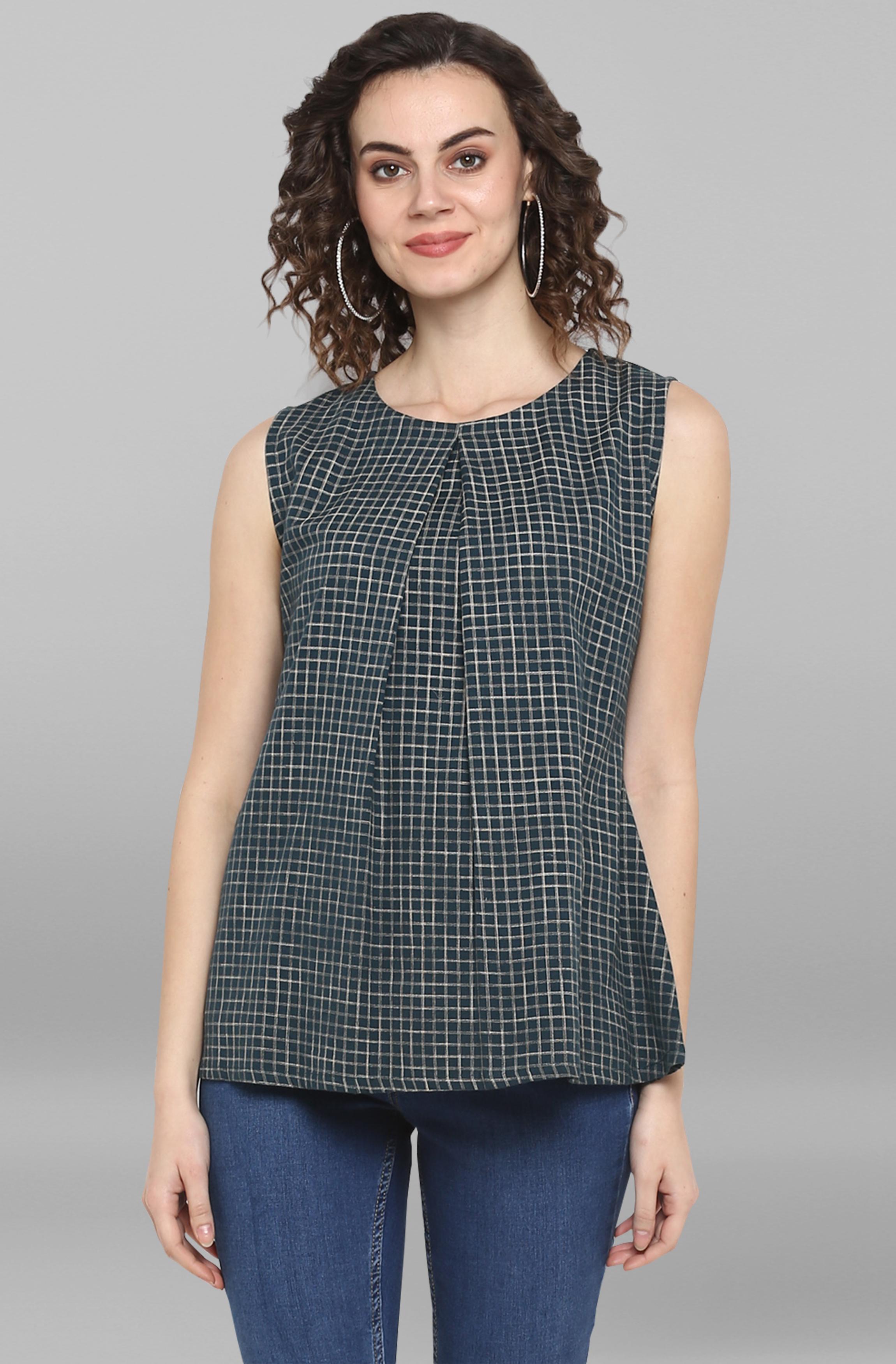 Janasya | Janasya Women's Dark Green Cotton Flex Top