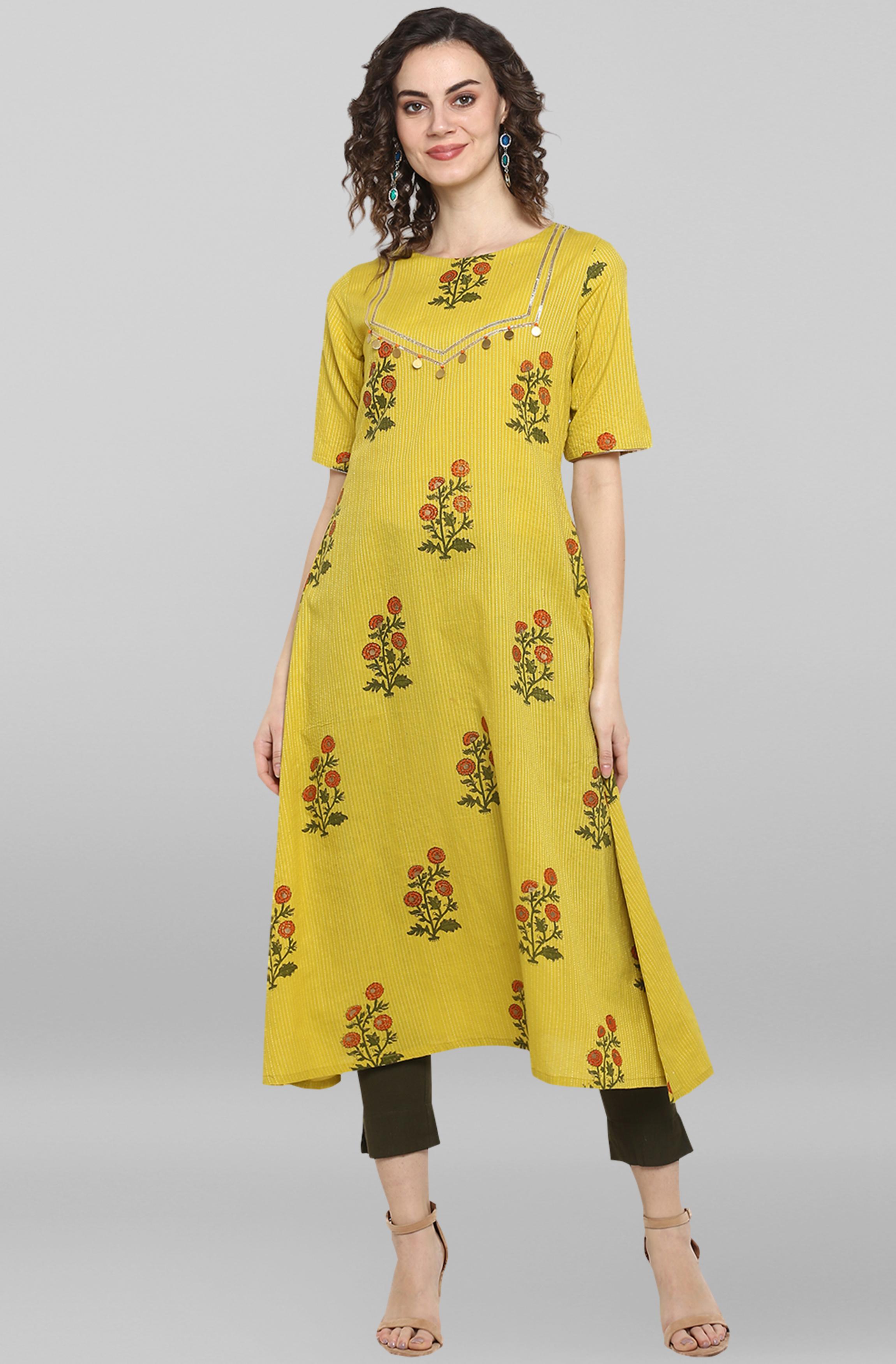 Janasya | Janasya Women's Lemon yellow Cotton Kurta