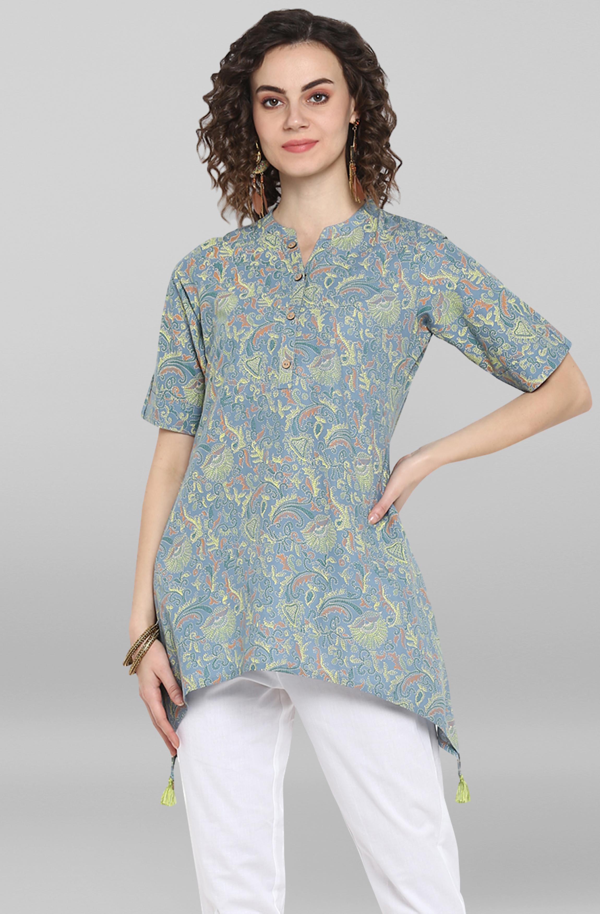 Janasya | Janasya Women's Grey Cotton Top