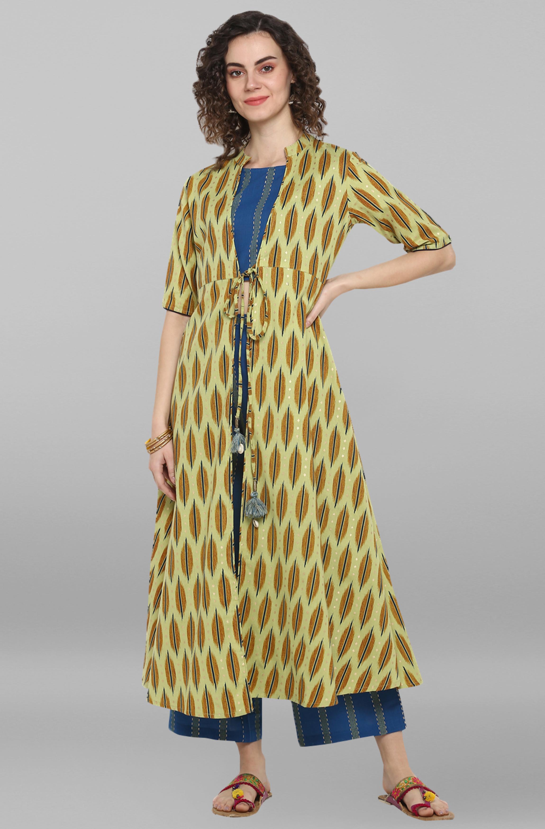 Janasya | Janasya Women's Light Green Cotton Flex Crop Top With Palazzo and Jacket
