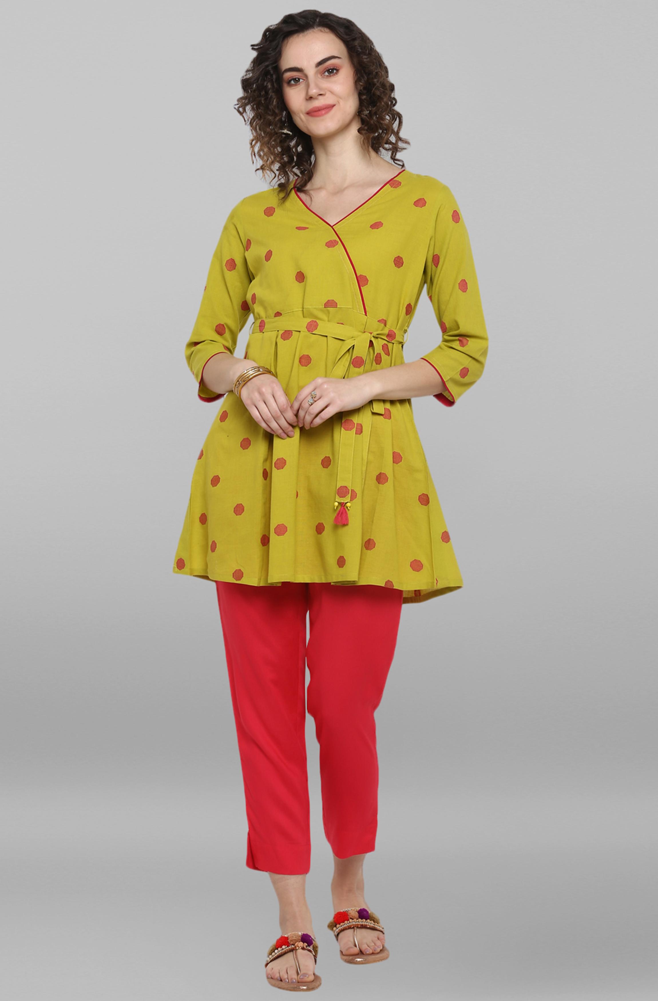 Janasya | Janasya Women's Lime Green Weaved Cotton/South Cotton Top