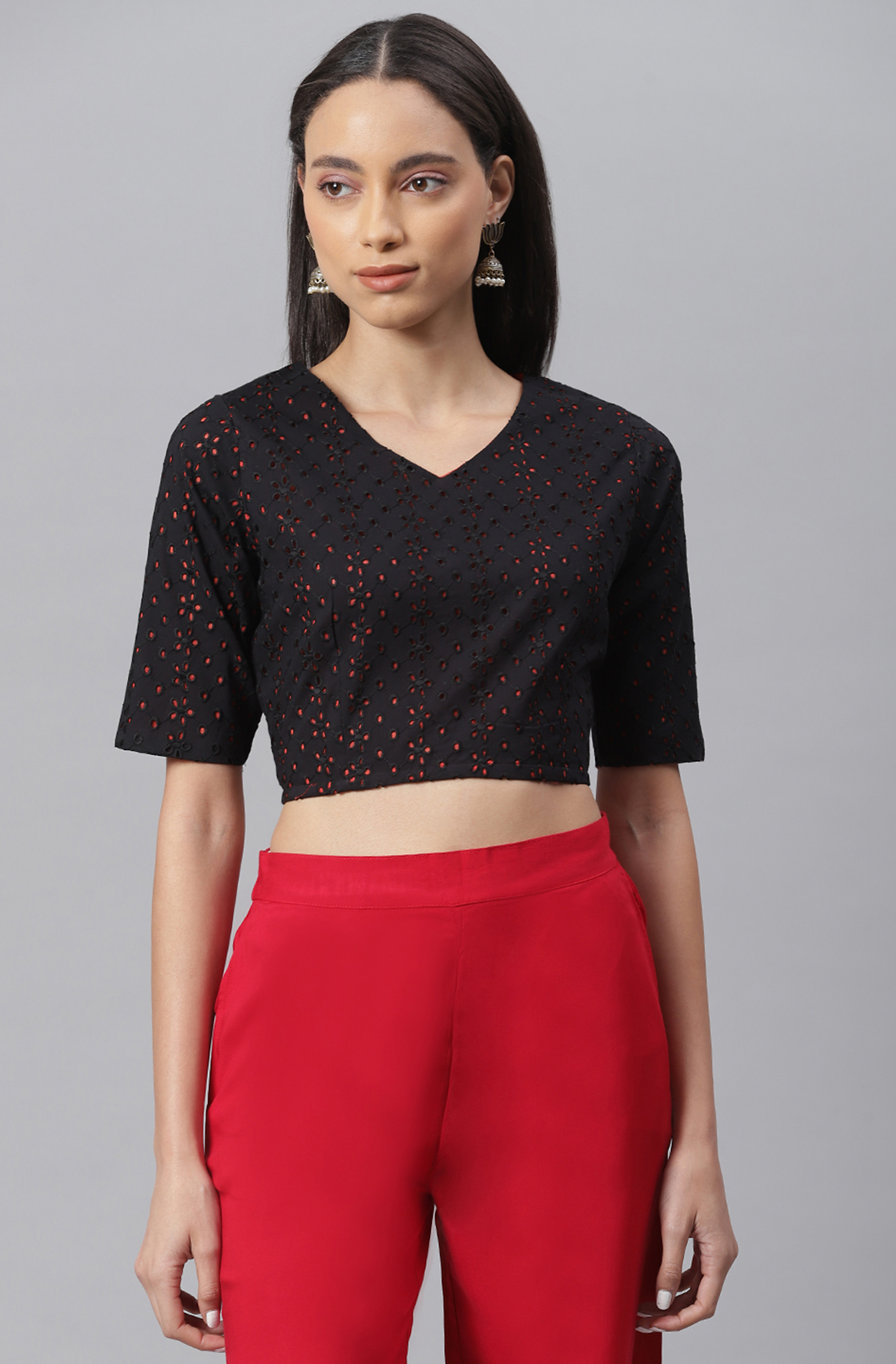 Janasya   Janasya Women's Black Cotton Crop Top