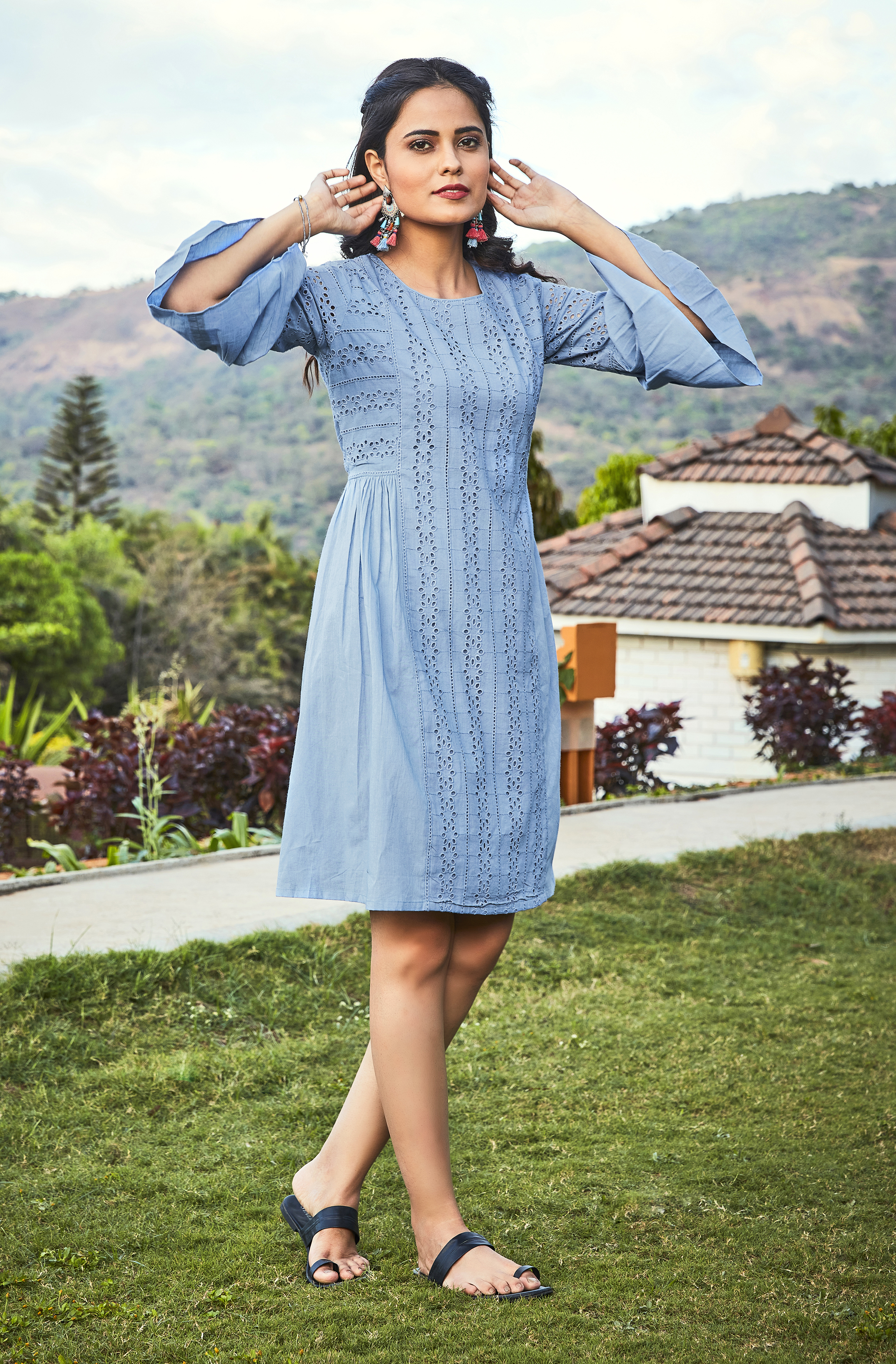 Janasya | Janasya Women's Blue Cotton Tunic