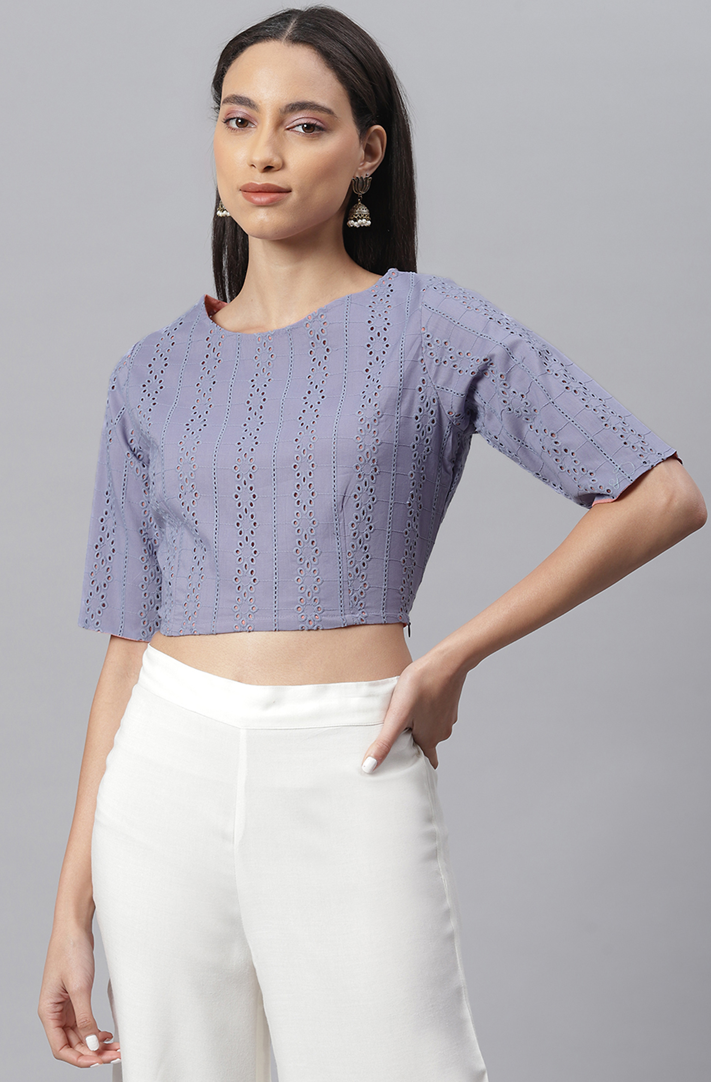 Janasya   Janasya Women's Blue Cotton Crop Top