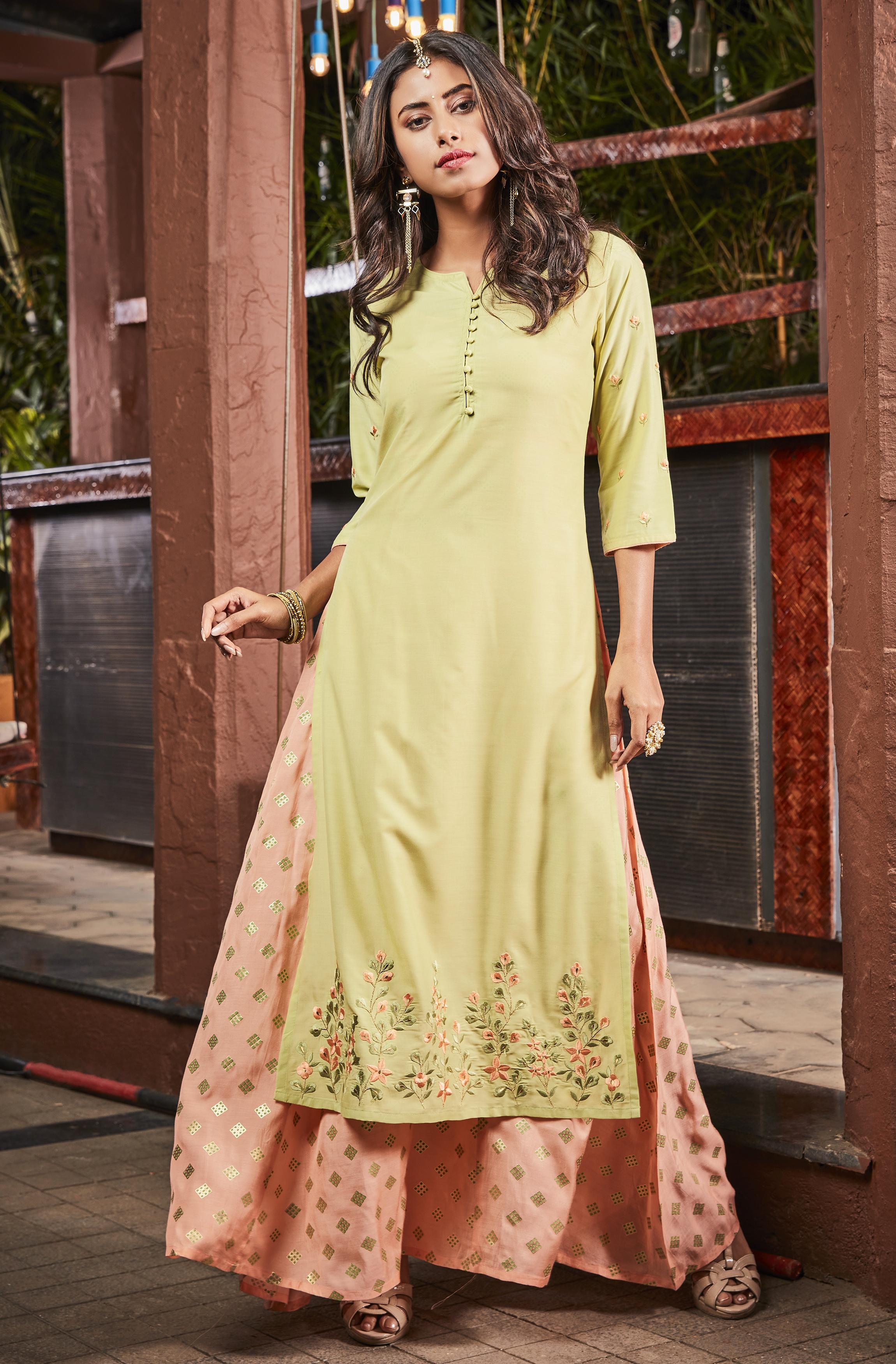 Janasya   Janasya Women's Light Green Poly Muslin Ethnic Dress