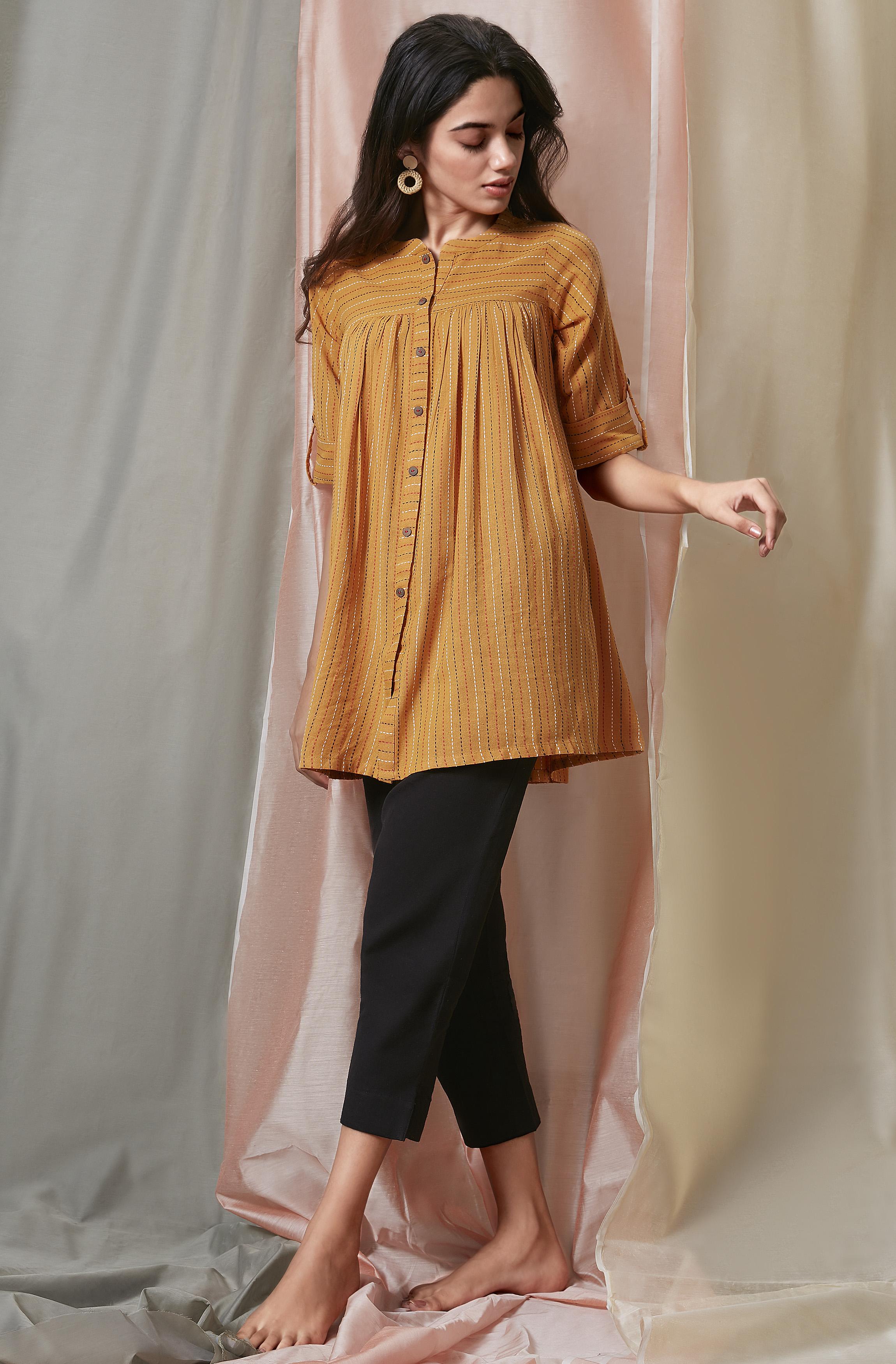 Janasya | Janasya Women's Mustard Weaved Cotton Tunic
