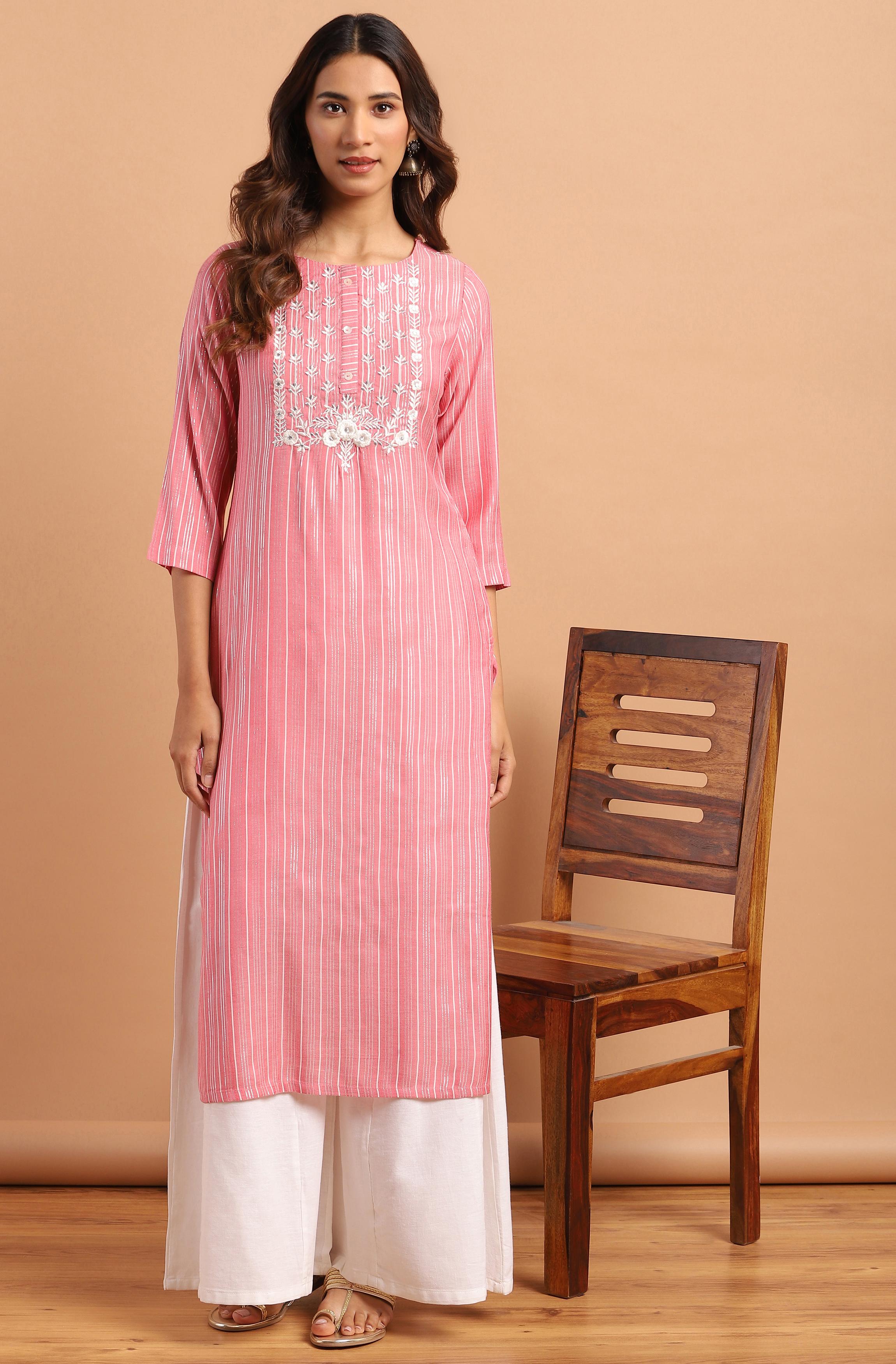 Janasya | Janasya Women's Pink Rayon Kurta With Palazzo
