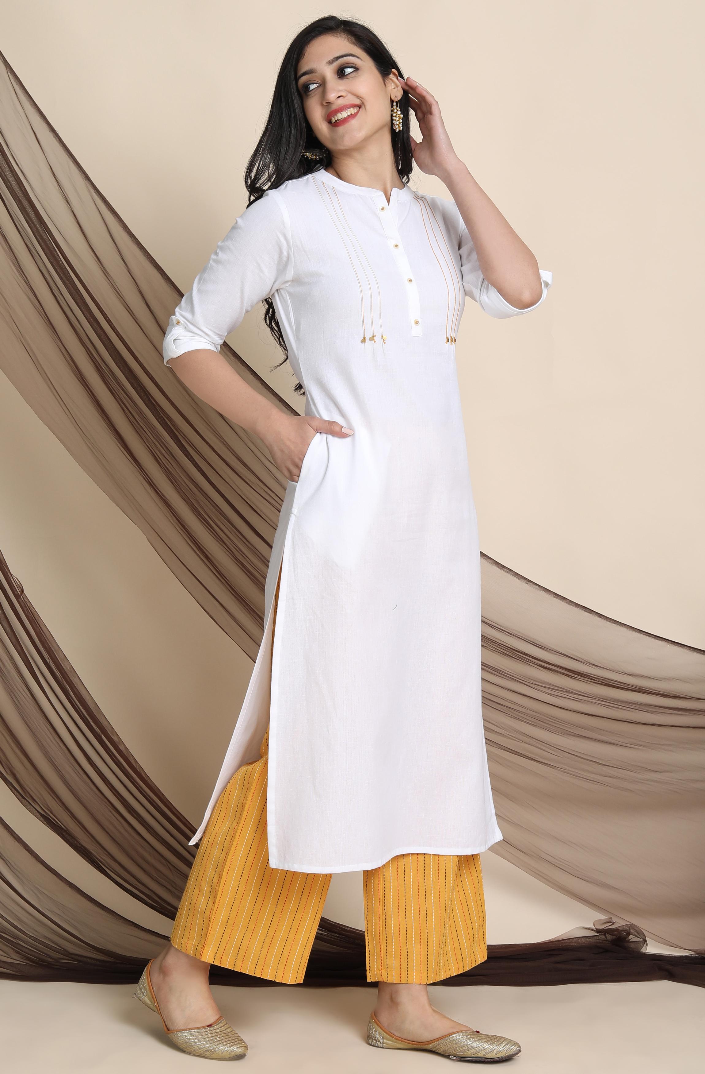 Janasya | Janasya Women's White Cotton Flex Kurta With Palazzo