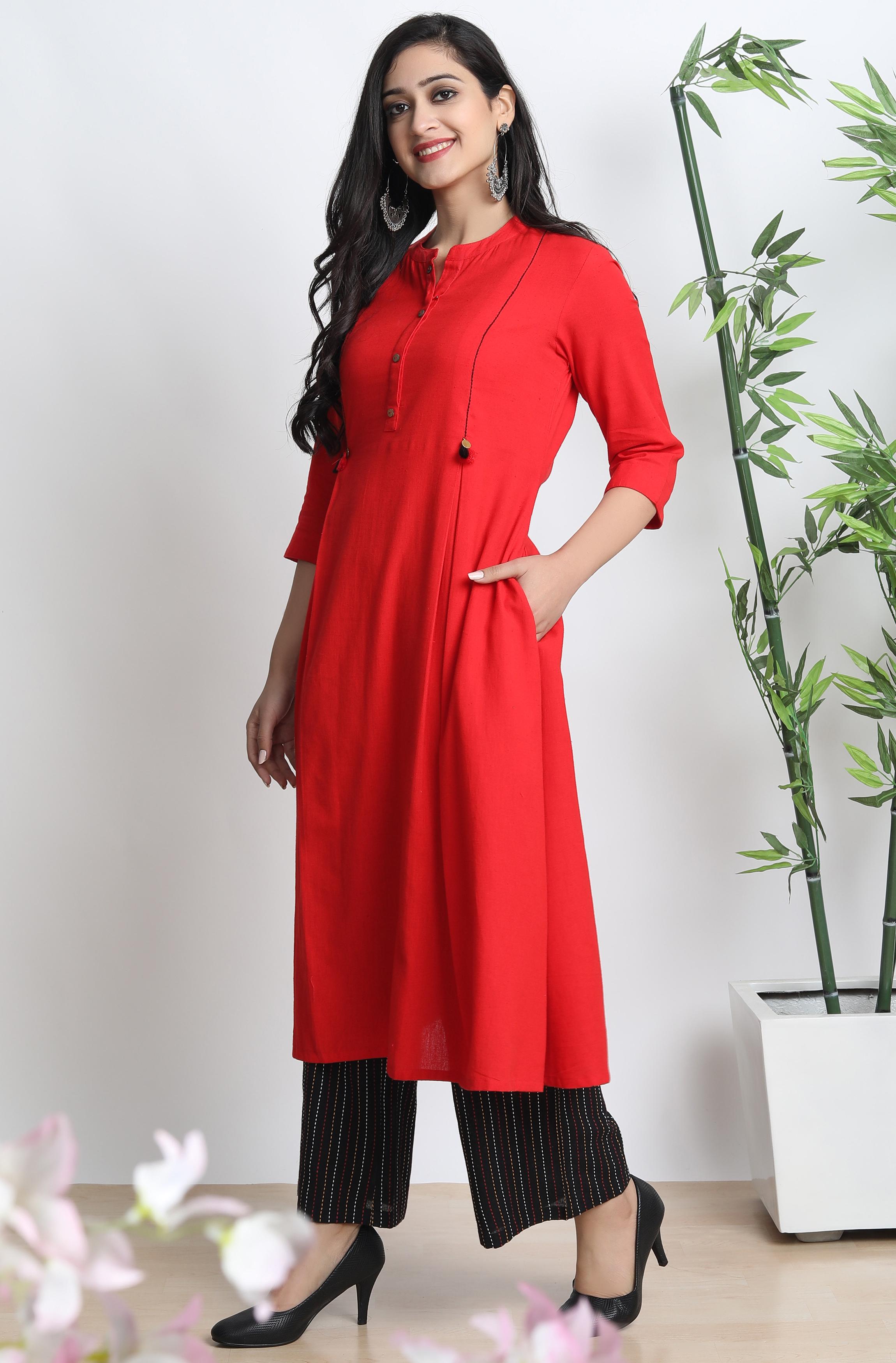 Janasya | Janasya Women's Red Cotton Flex Kurta With Palazzo