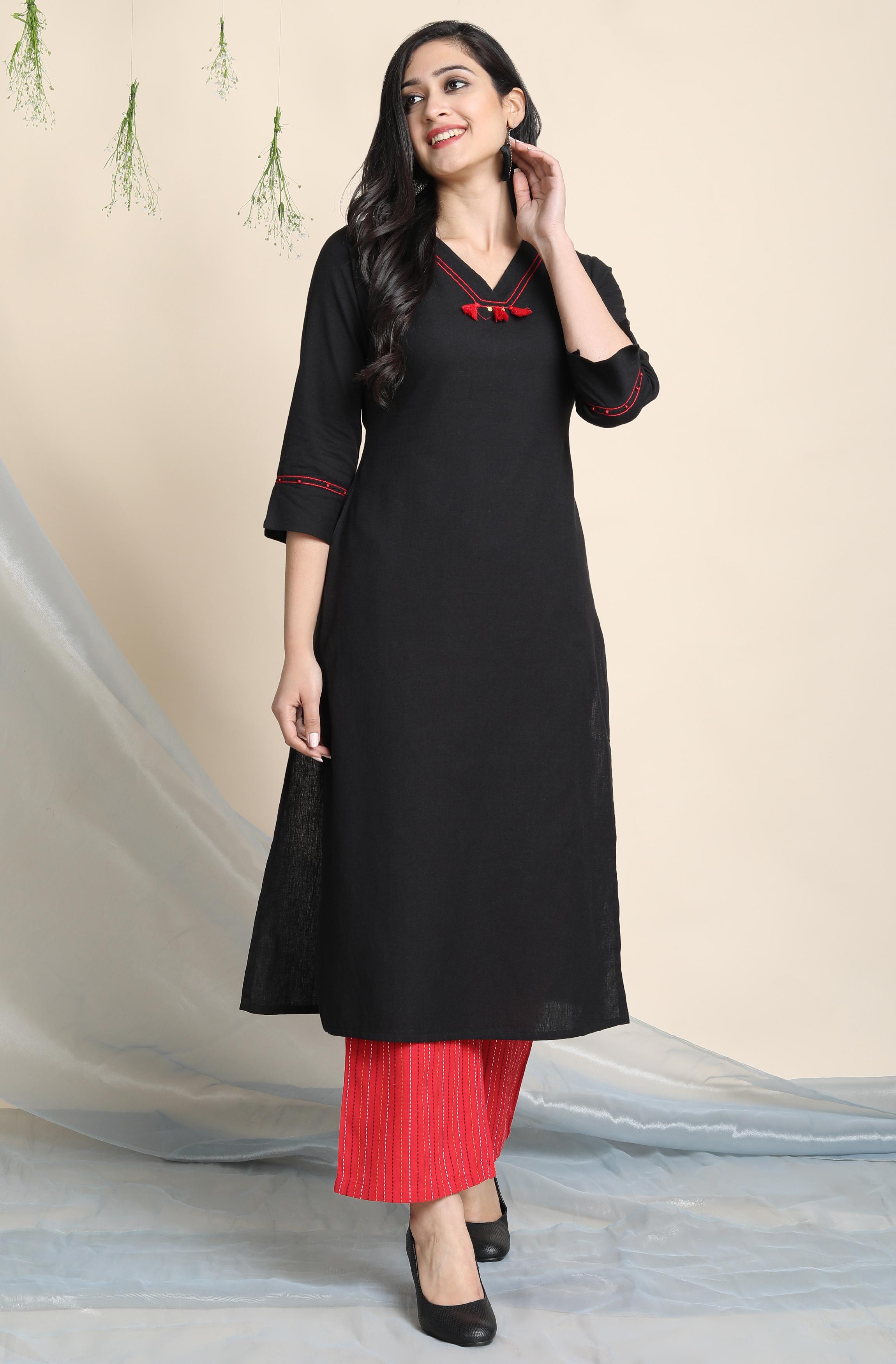 Janasya | Janasya Women's Black Cotton Flex Kurta With Palazzo