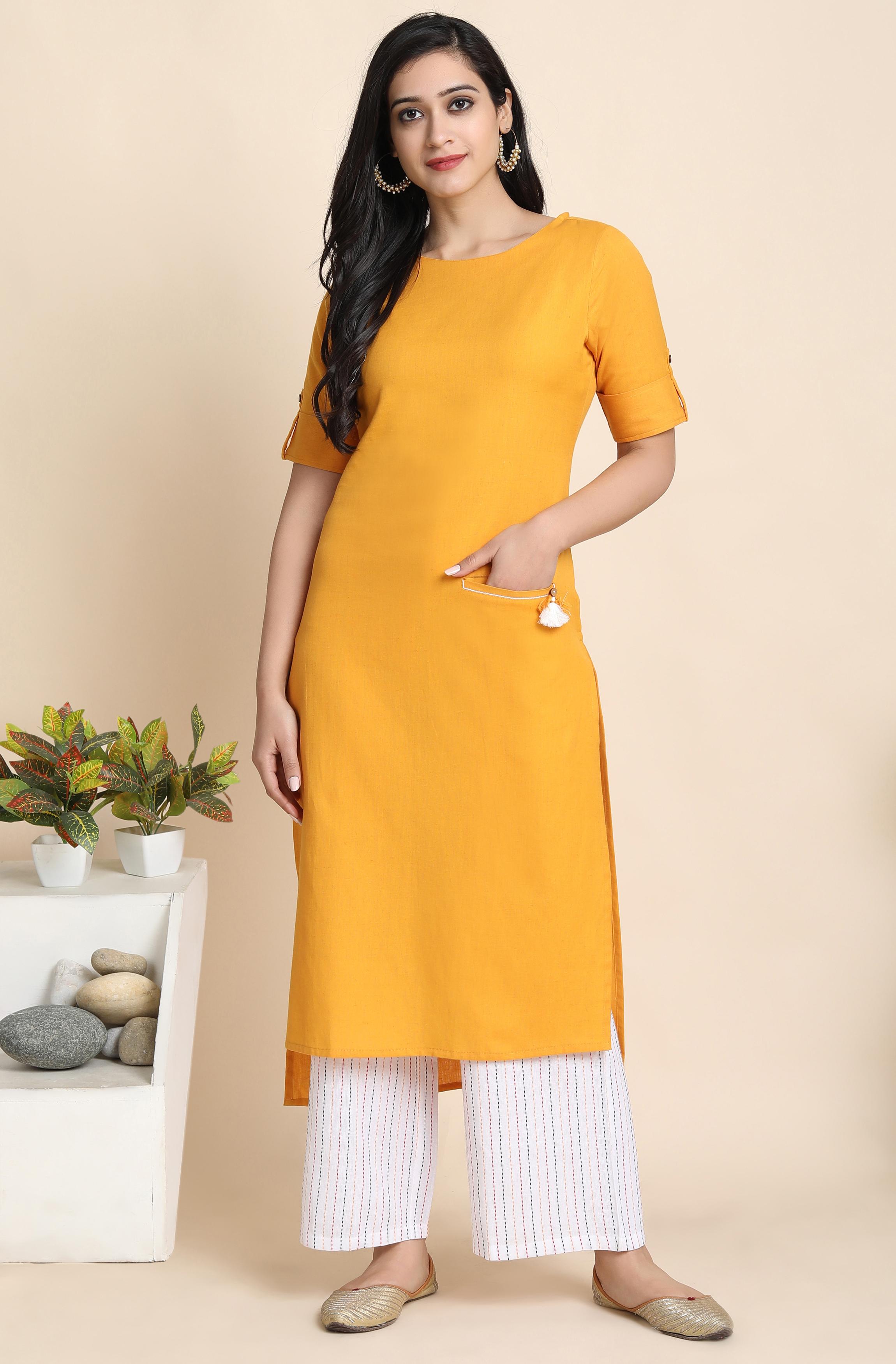 Janasya | Janasya Women's Mustard Cotton Flex Kurta With Palazzo