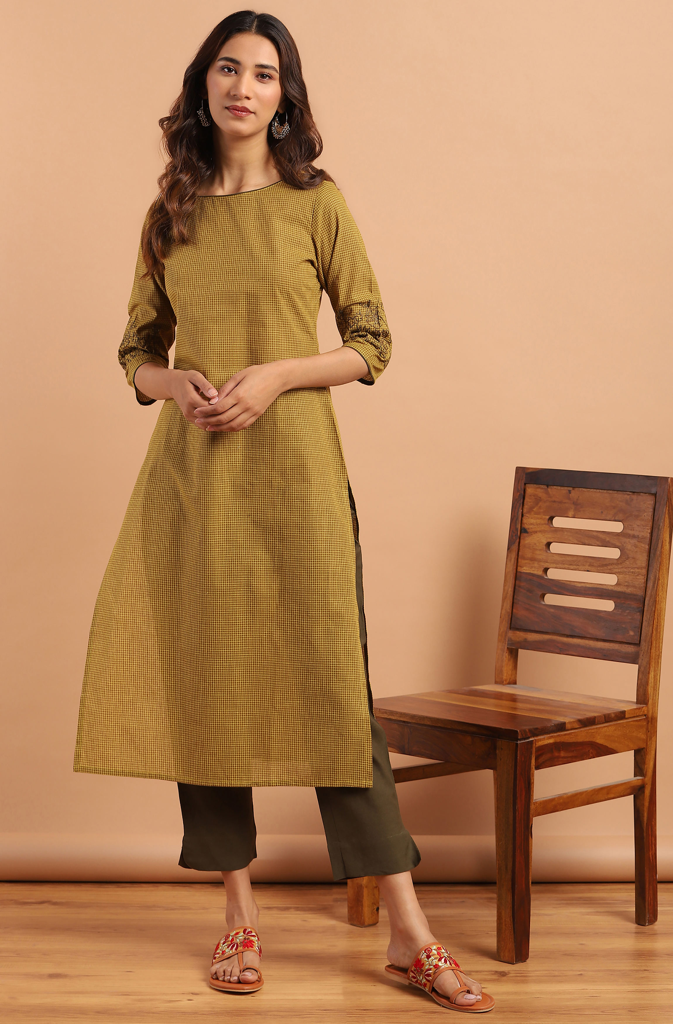 Janasya | Janasya Women's Green Cotton Kurta With Pant