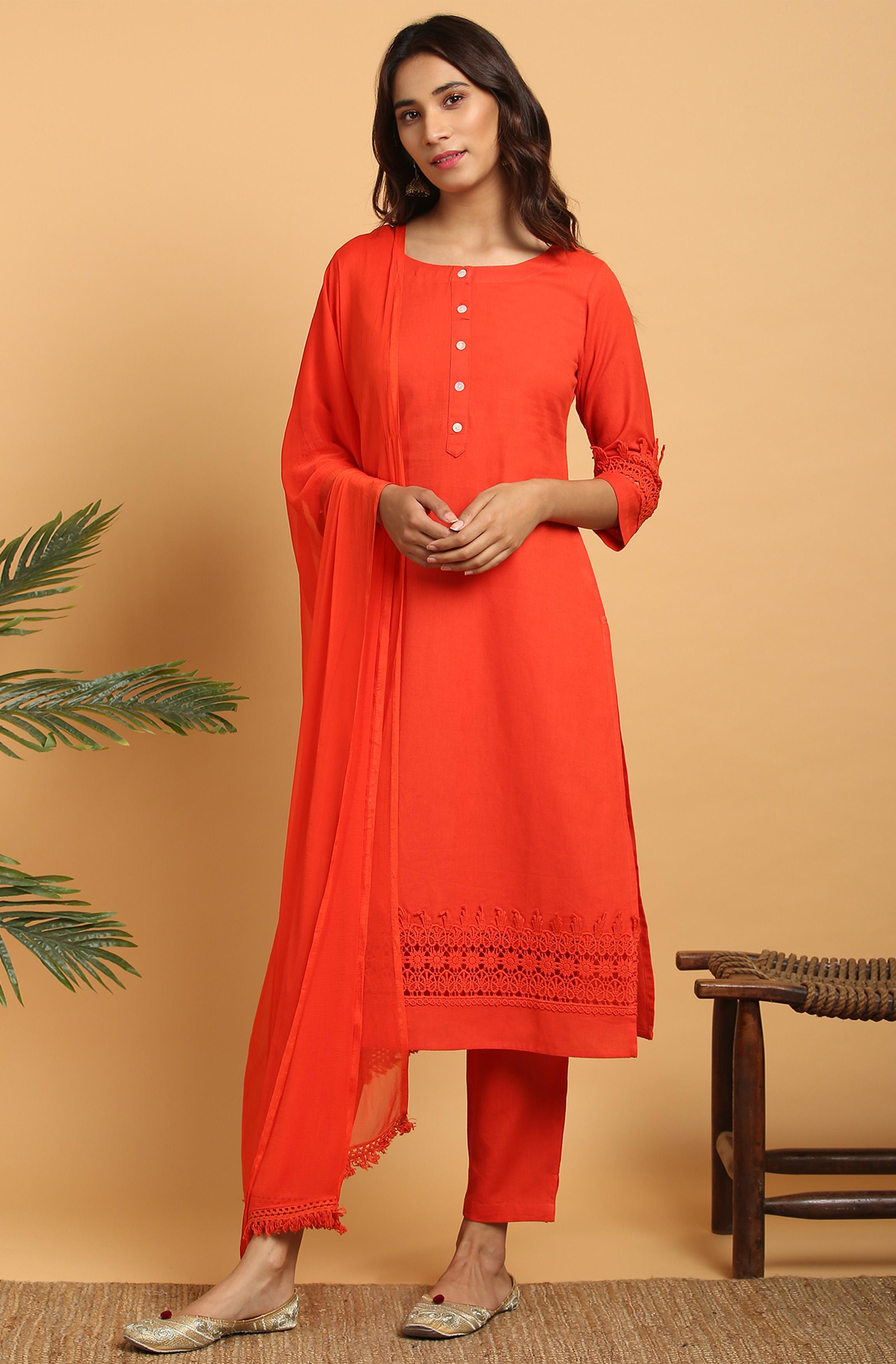 Janasya | Janasya Women's Red Cotton Flex Kurta With Pant and Dupatta