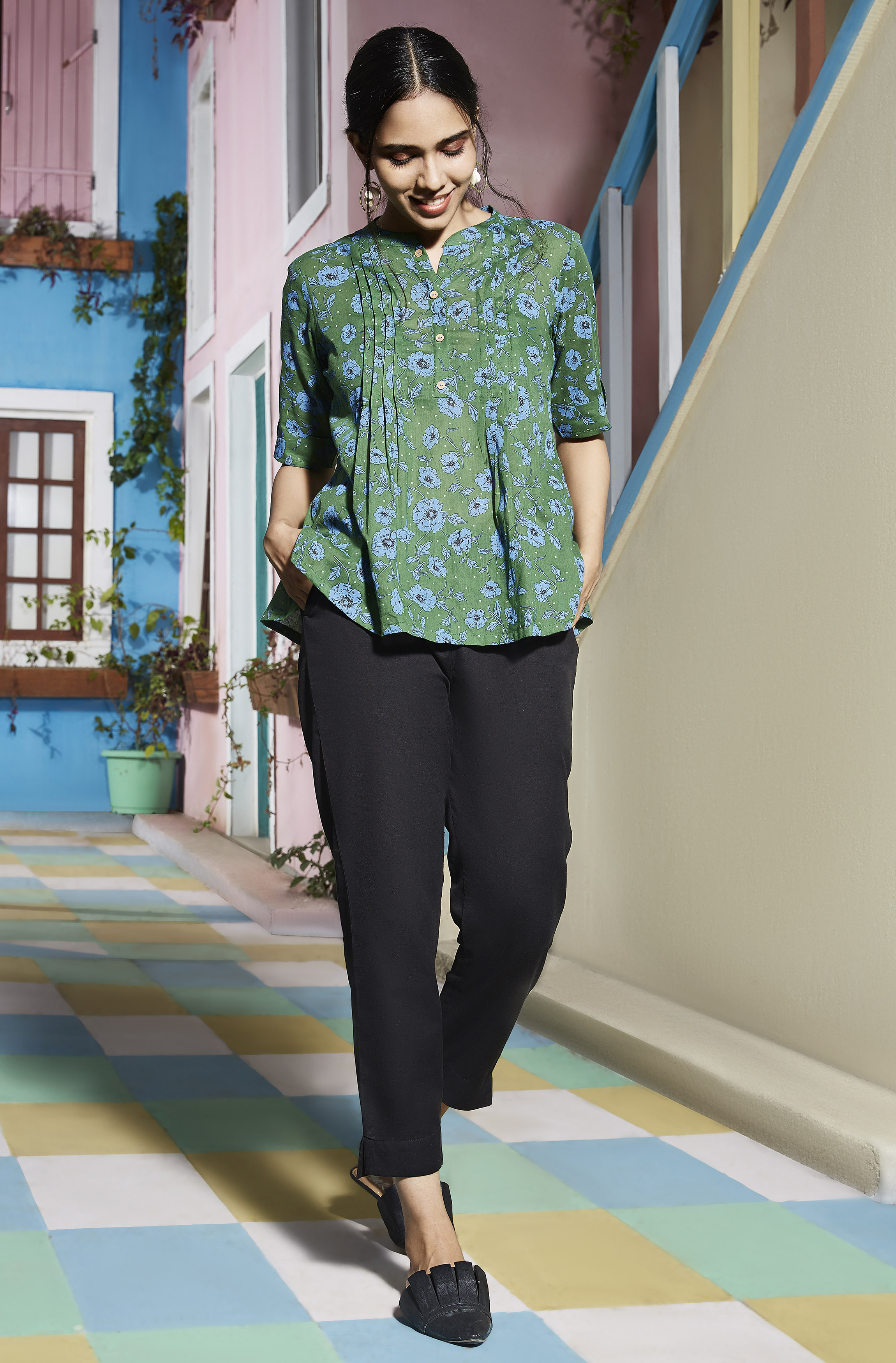 Janasya | Janasya Women's Green Cotton Top