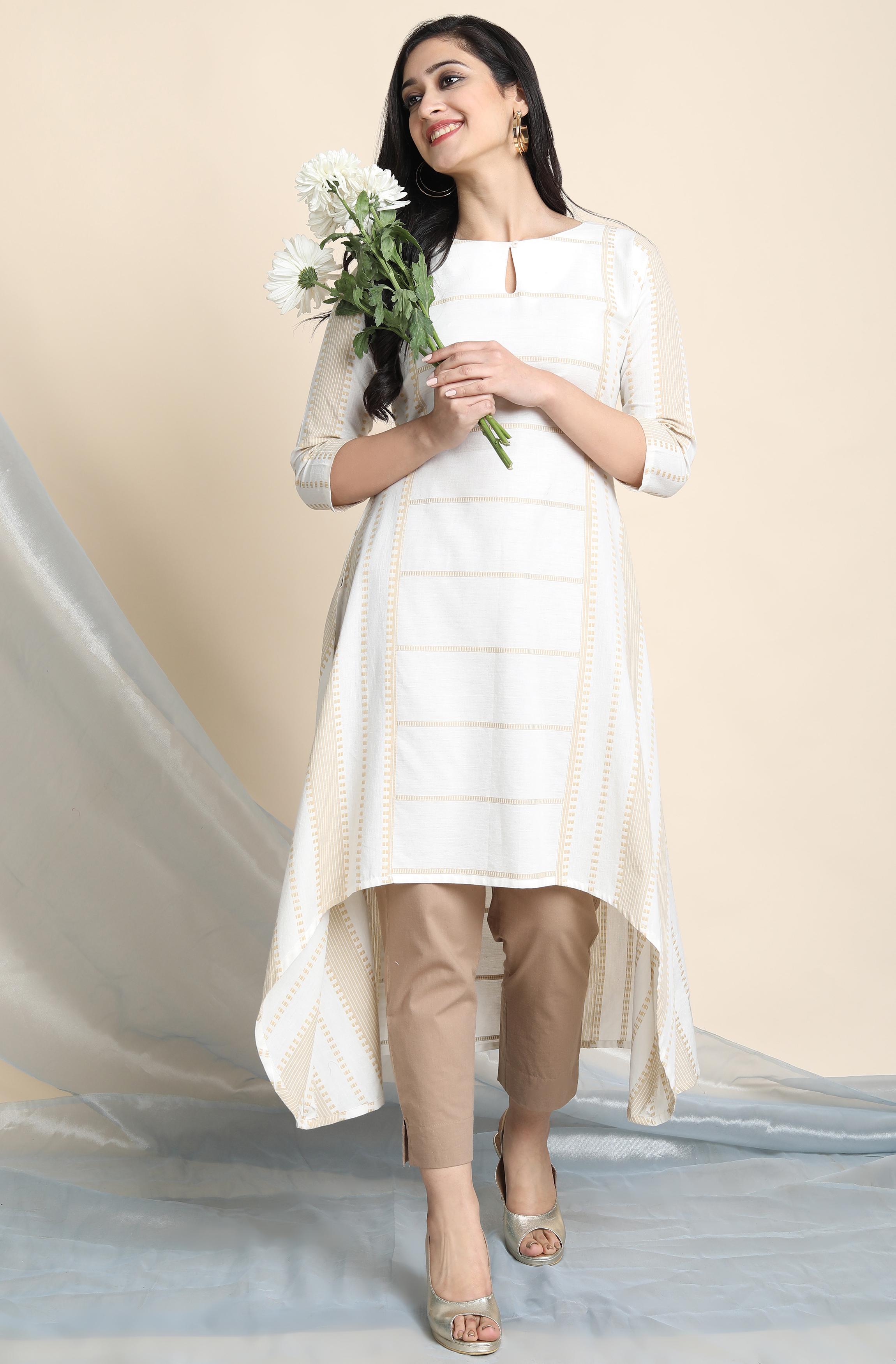 Janasya | Janasya Women's Off White Cotton Kurta With Pocket