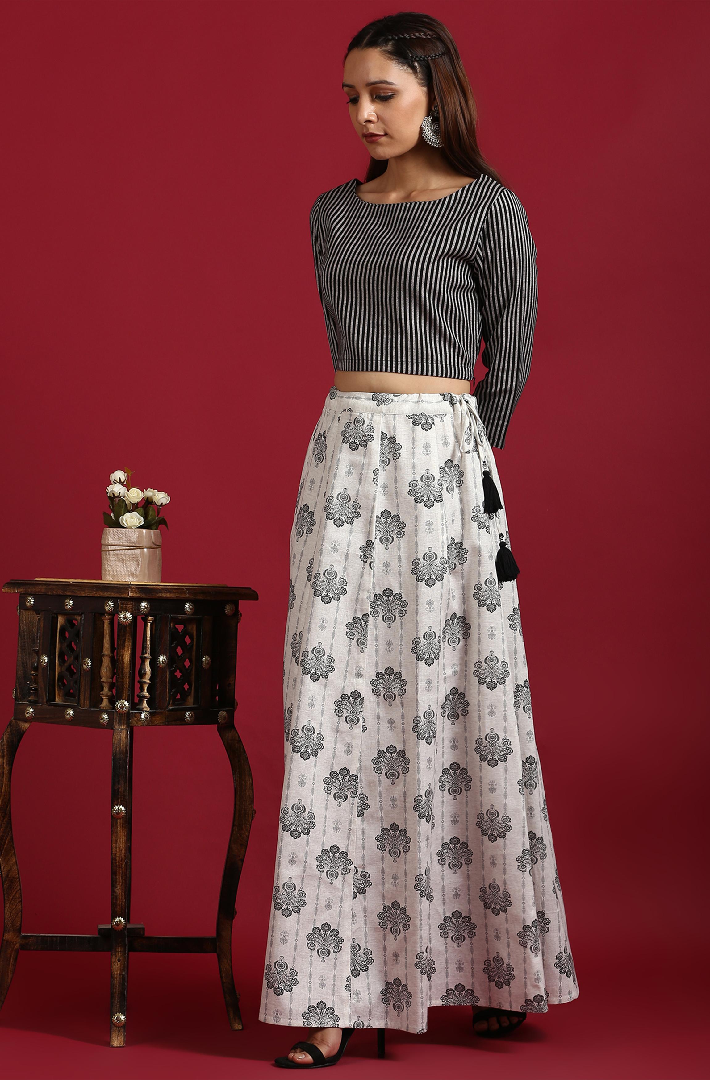 Janasya | Janasya Women's Black Cotton Flex Crop Top With Skirt