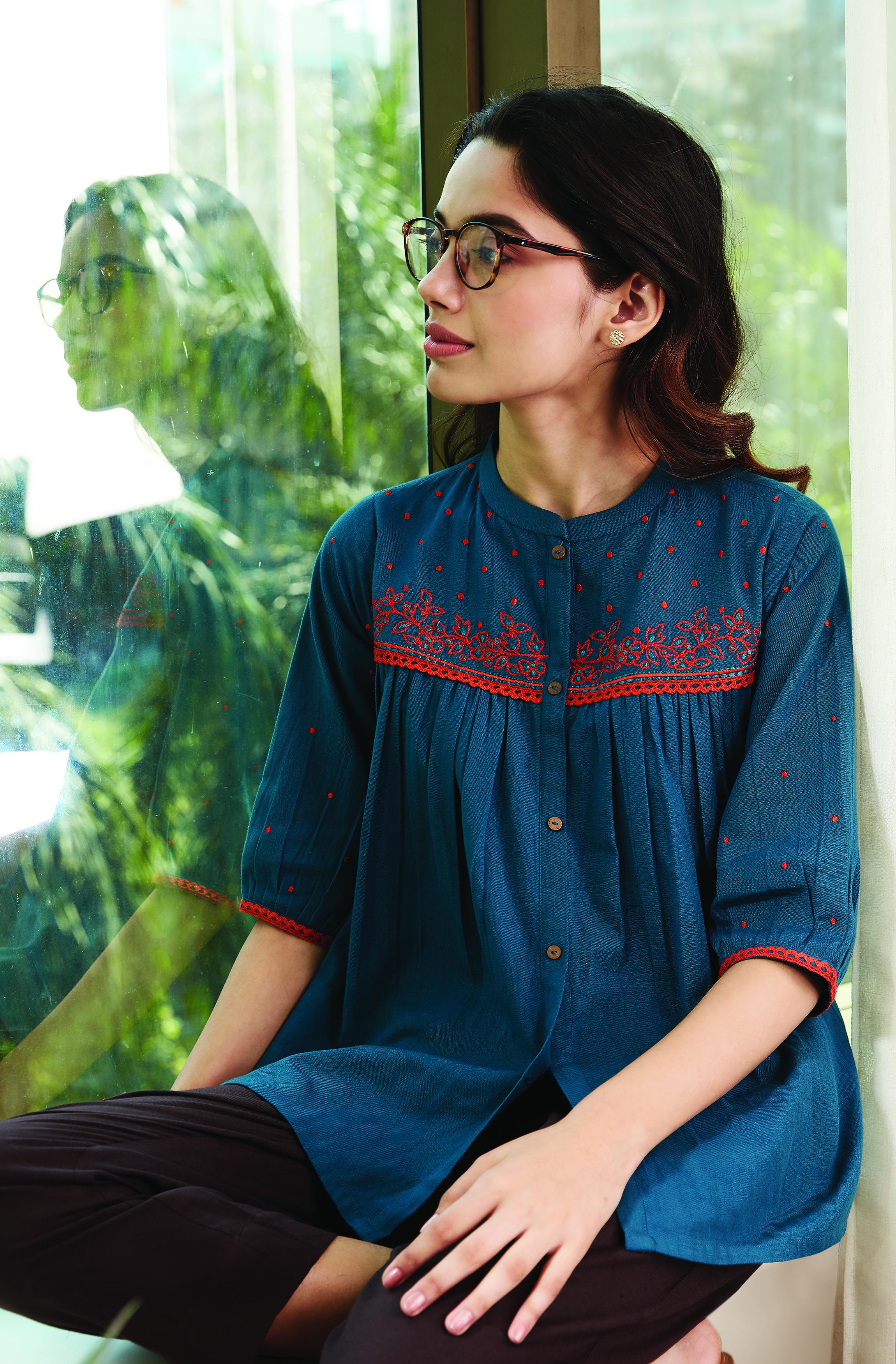 Janasya | Janasya Women's Teal Cotton Flex Top
