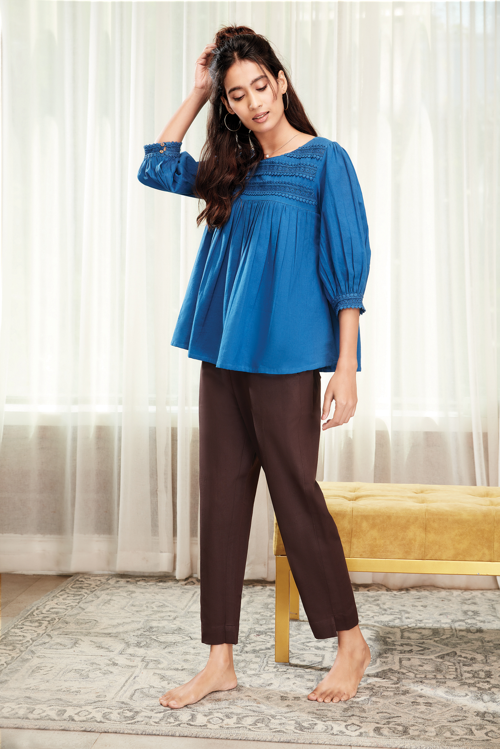 Janasya | Janasya Women's Blue Cotton Flex Top