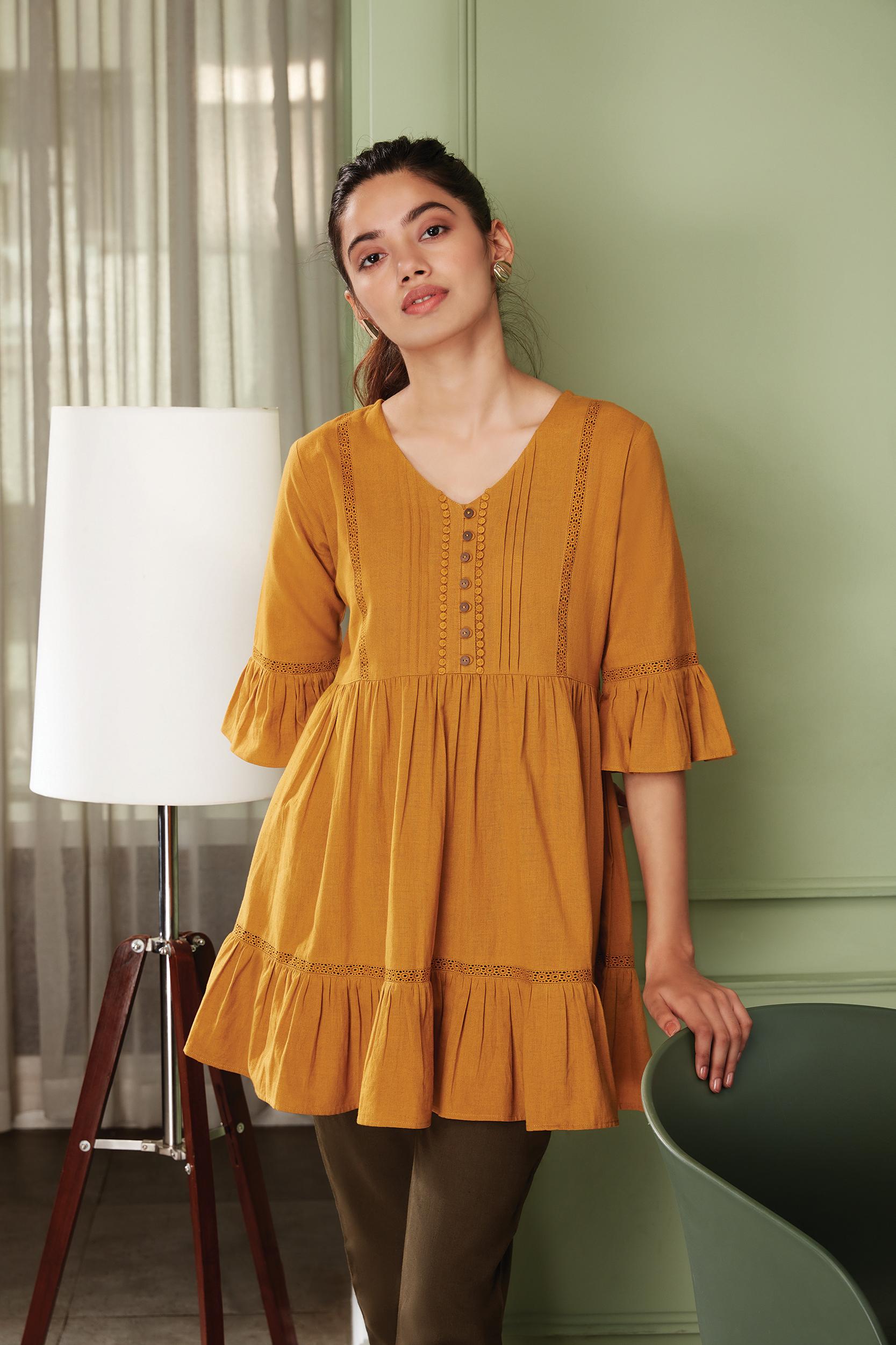 Janasya | Janasya Women's Mustard Cotton Flex Tunic