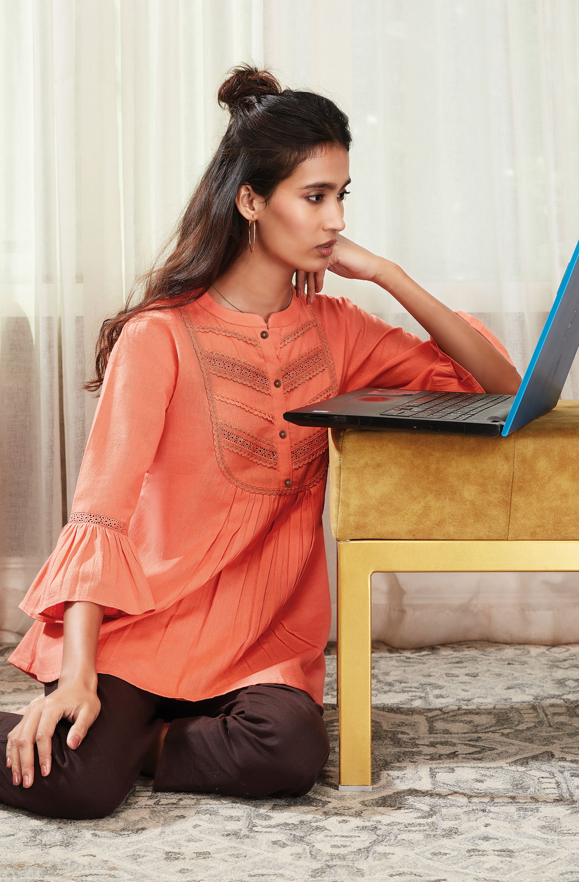 Janasya | Janasya Women's Peach Cotton Flex Top