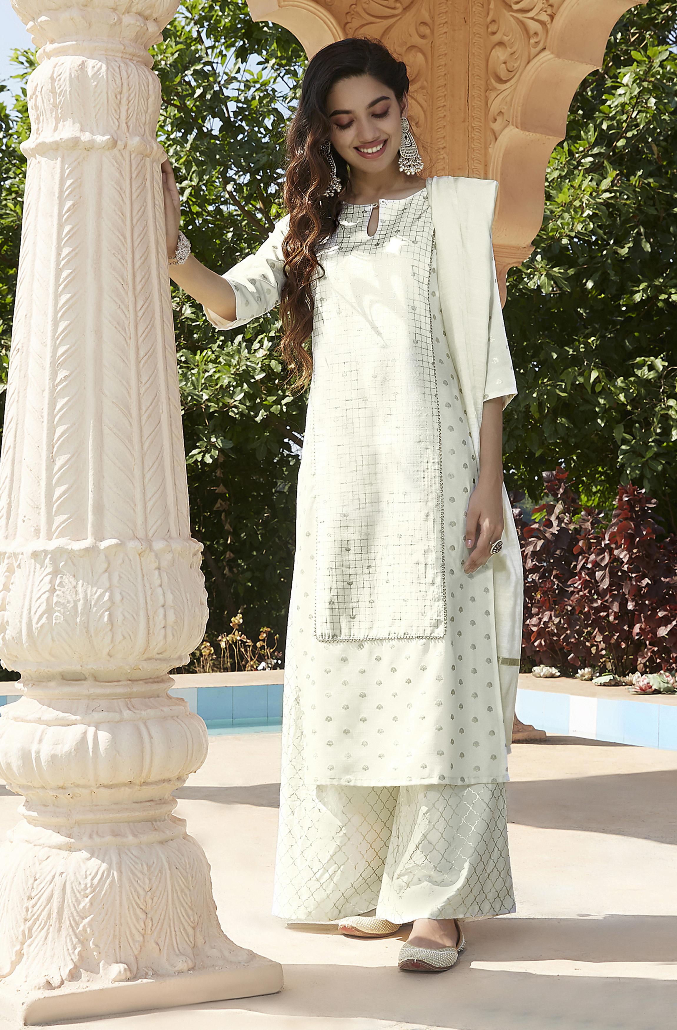Janasya | Janasya Women's Off- White Poly Silk Kurta With Palazzo and Dupatta