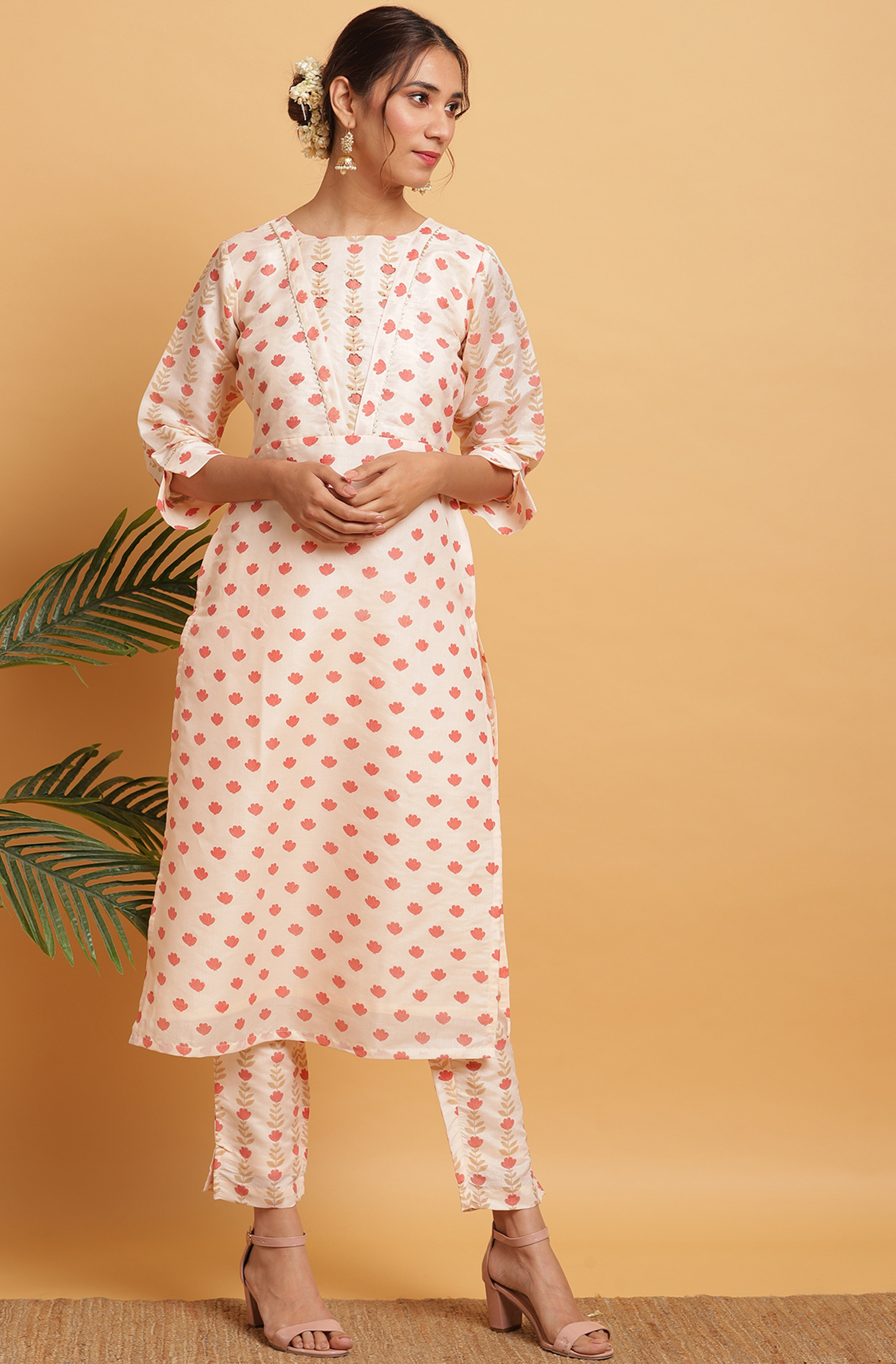 Janasya | Janasya Women's Peach Poly Silk Kurta With Pant