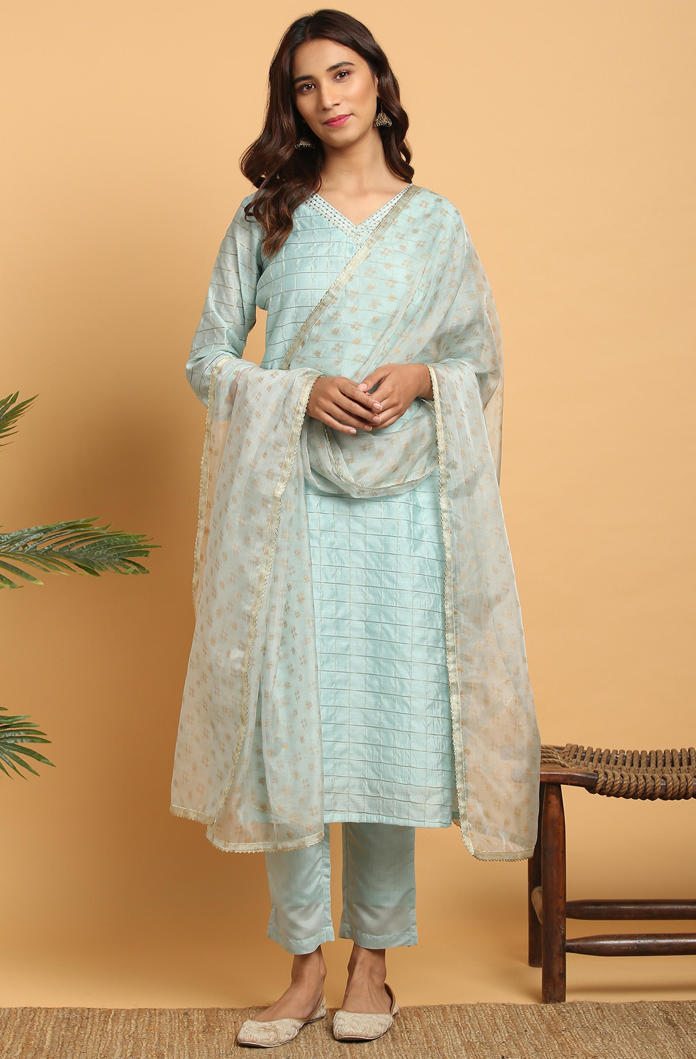 Janasya | Janasya Women's Sky Blue Art Silk Kurta With Pant and Dupatta