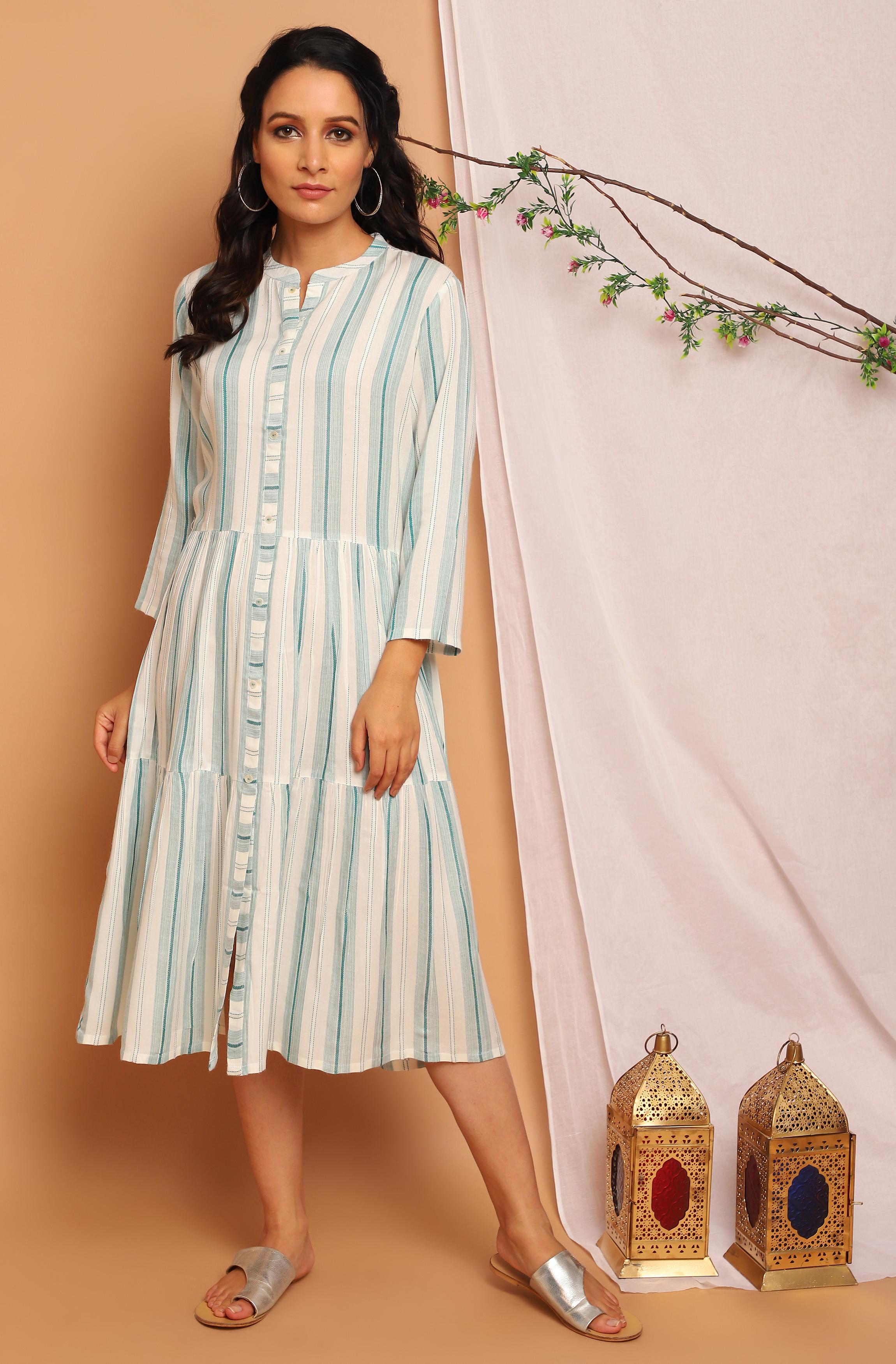 Janasya | Janasya Women's Off White Rayon Western Dress