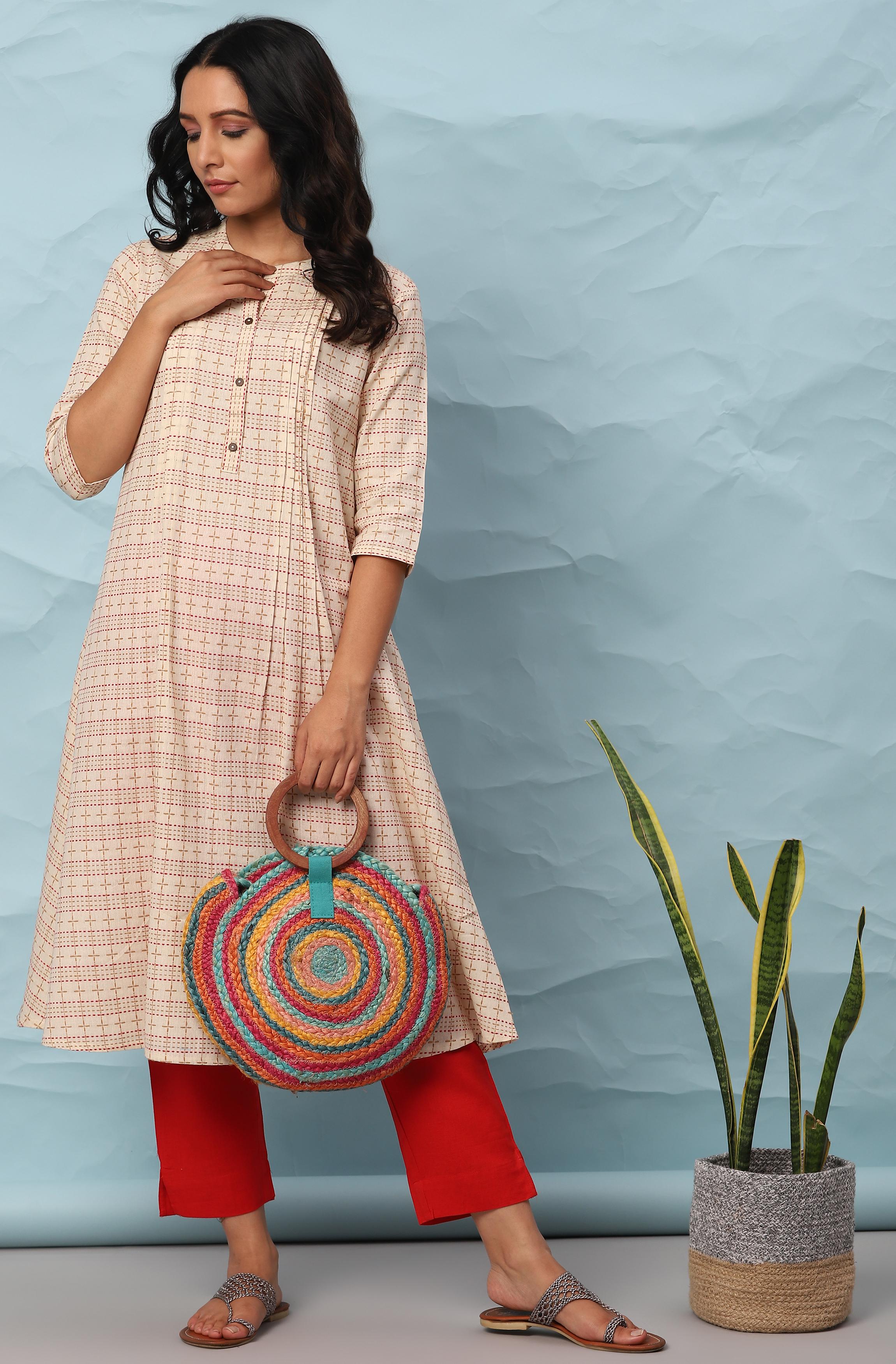 Janasya   Janasya Women's Cream Cotton Kurta