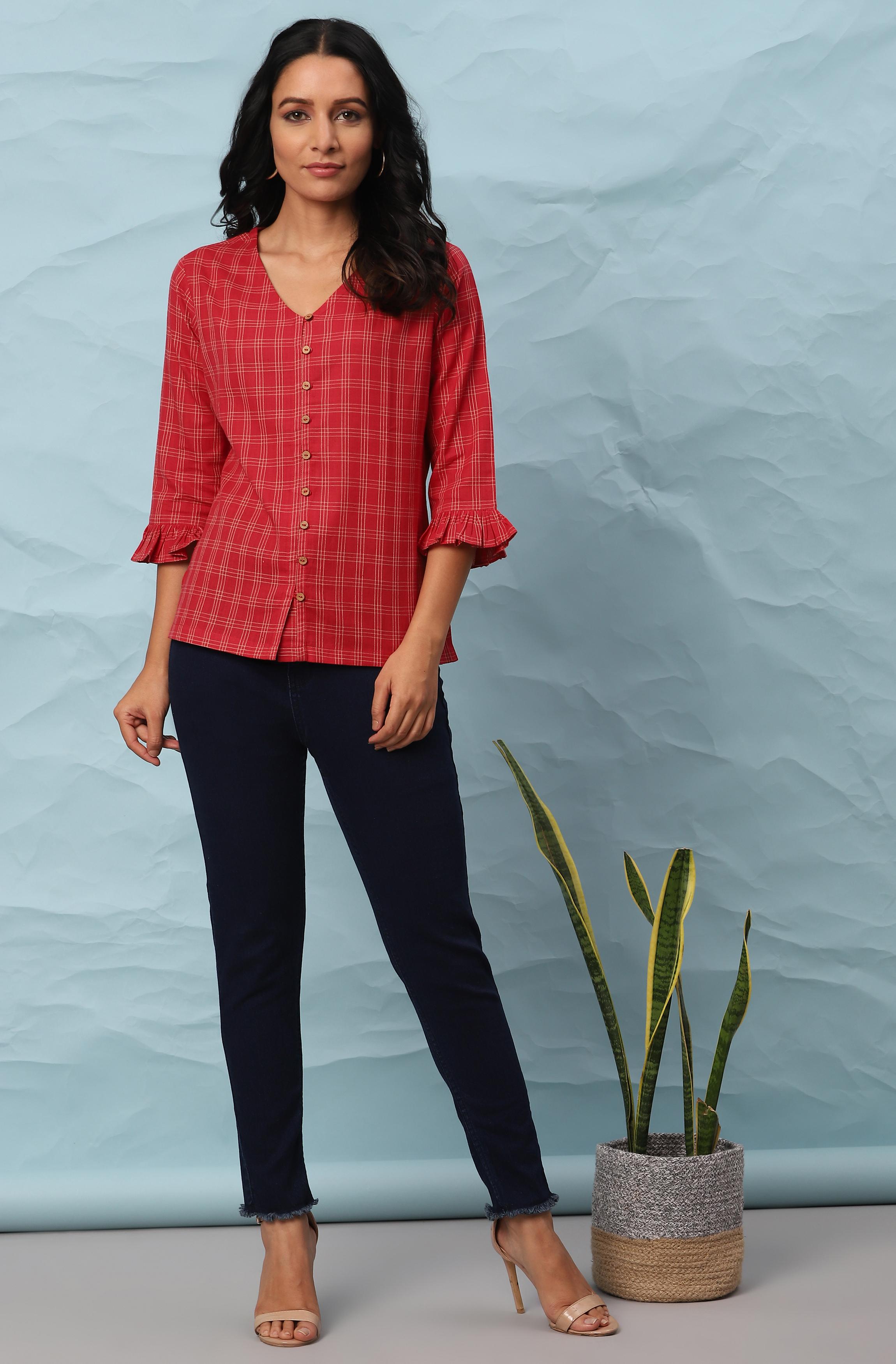 Janasya | Janasya Women's Red Cotton Top