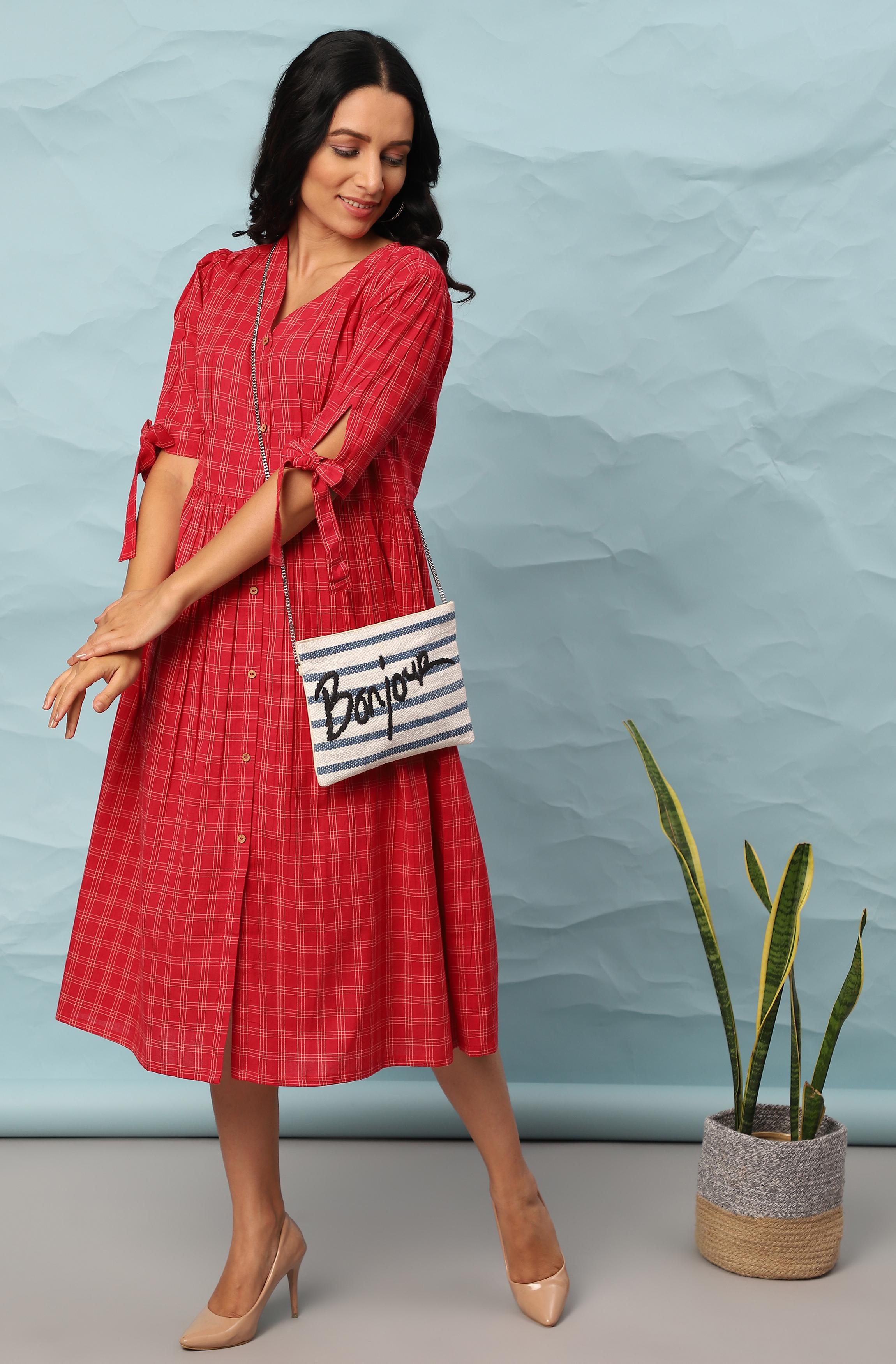Janasya | Janasya Women's Red Cotton Western Dress