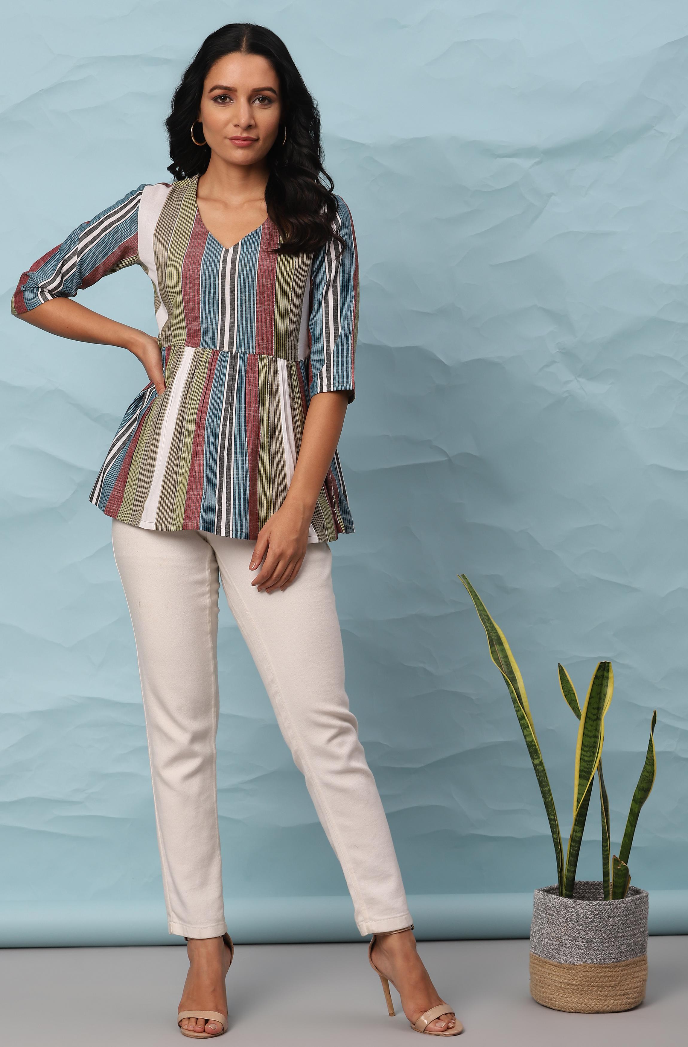 Janasya | Janasya Women's Multicolor Cotton Top