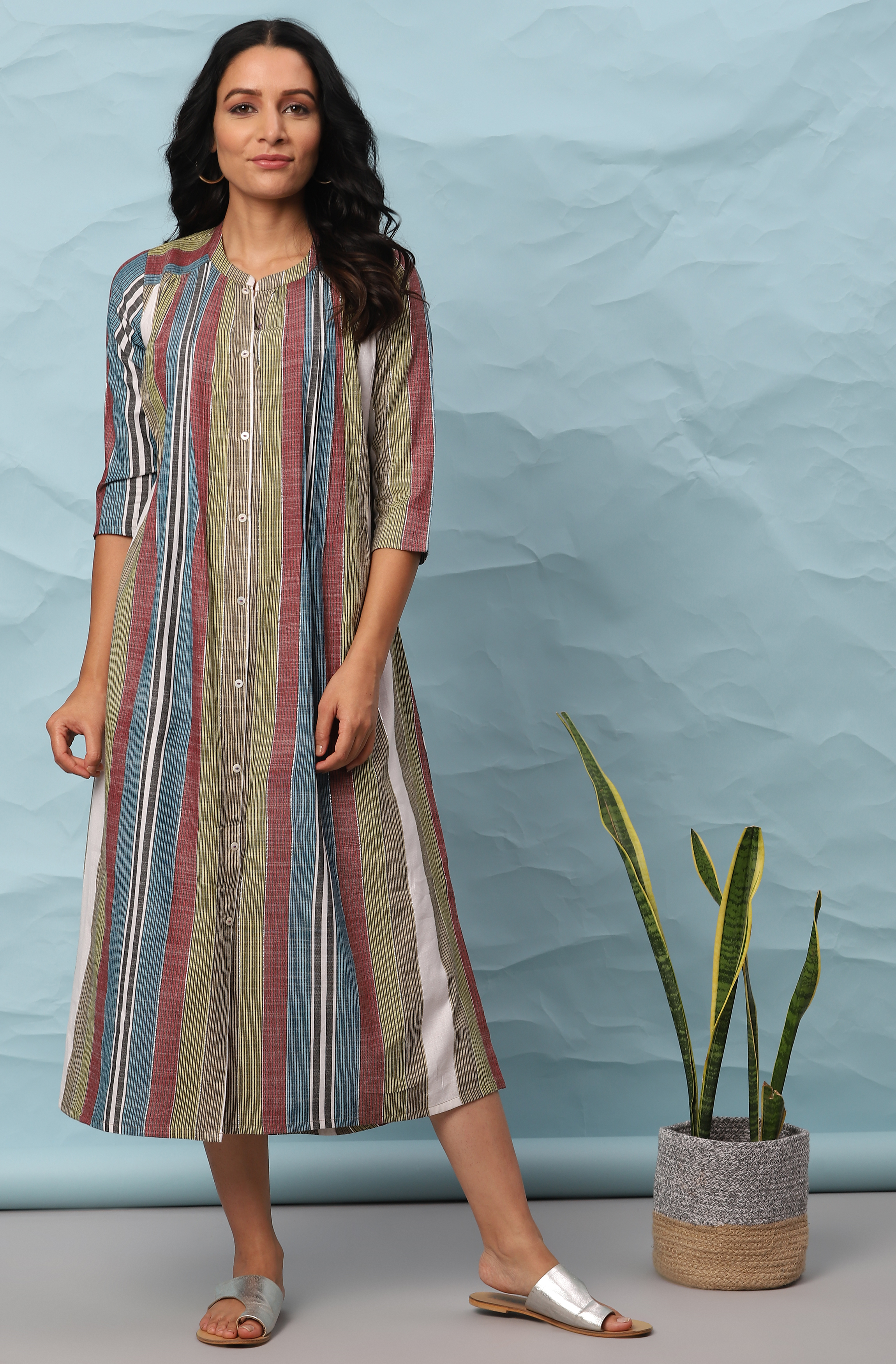 Janasya   Janasya Women's Multicolor Cotton Western Dress