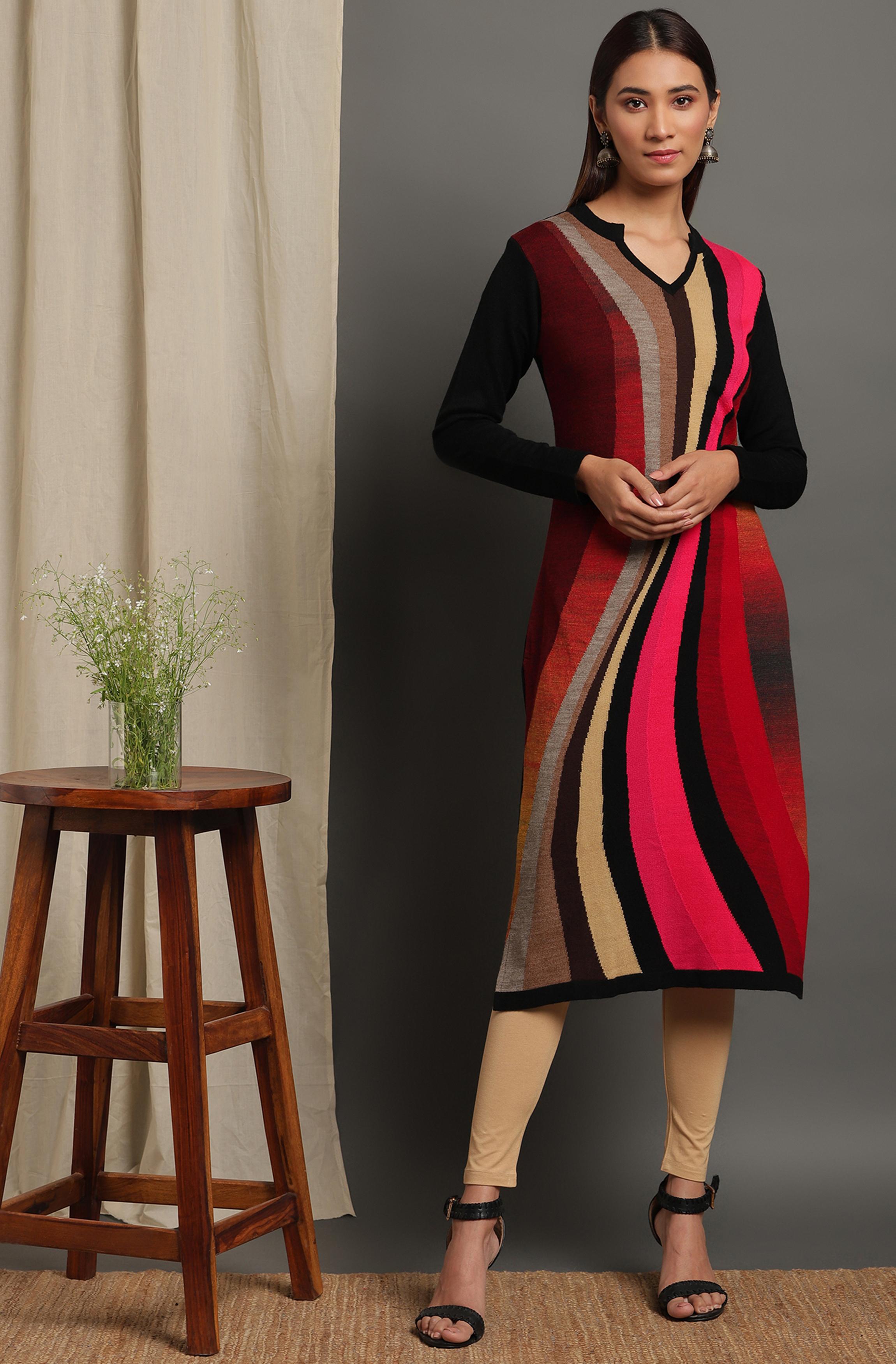 Janasya | Janasya Women's Multicolor Woolen Kurta