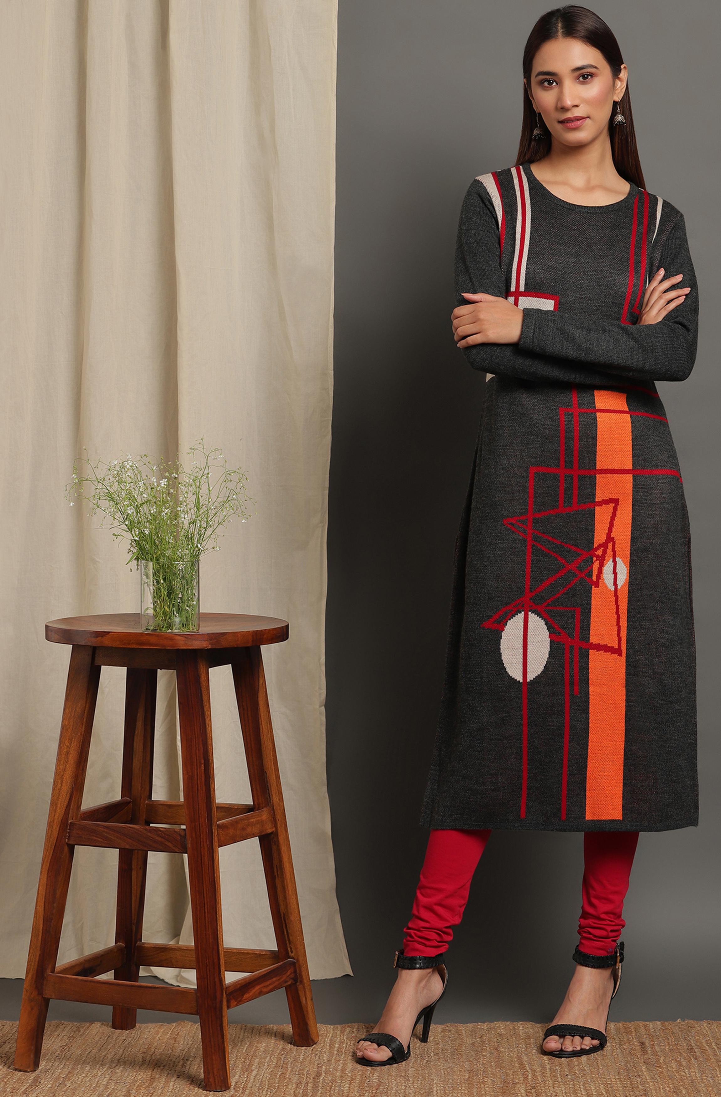 Janasya | Janasya Women's Grey Woolen Kurta