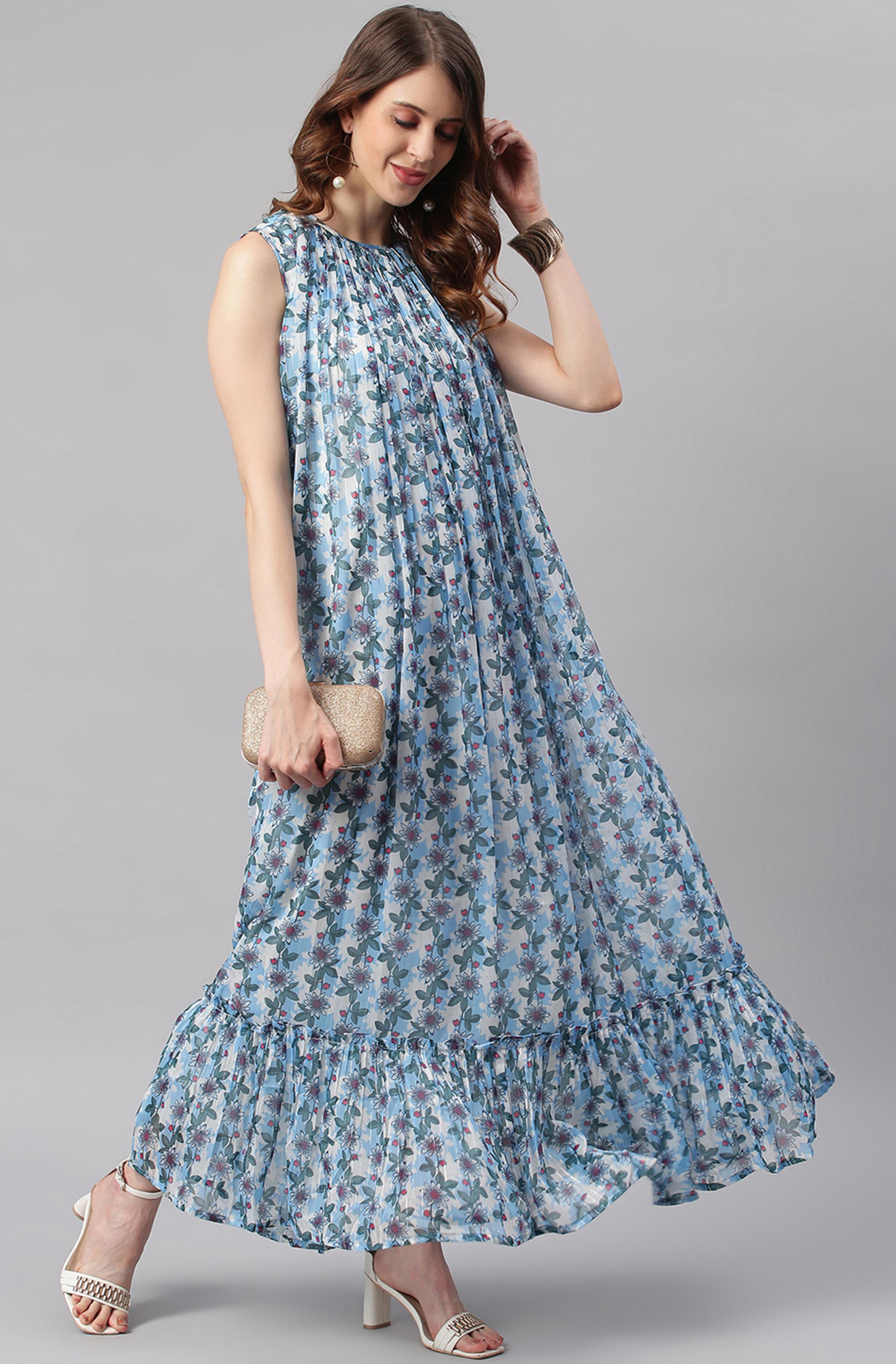 Janasya   Janasya Women's Blue Poly Georgette Western Dress