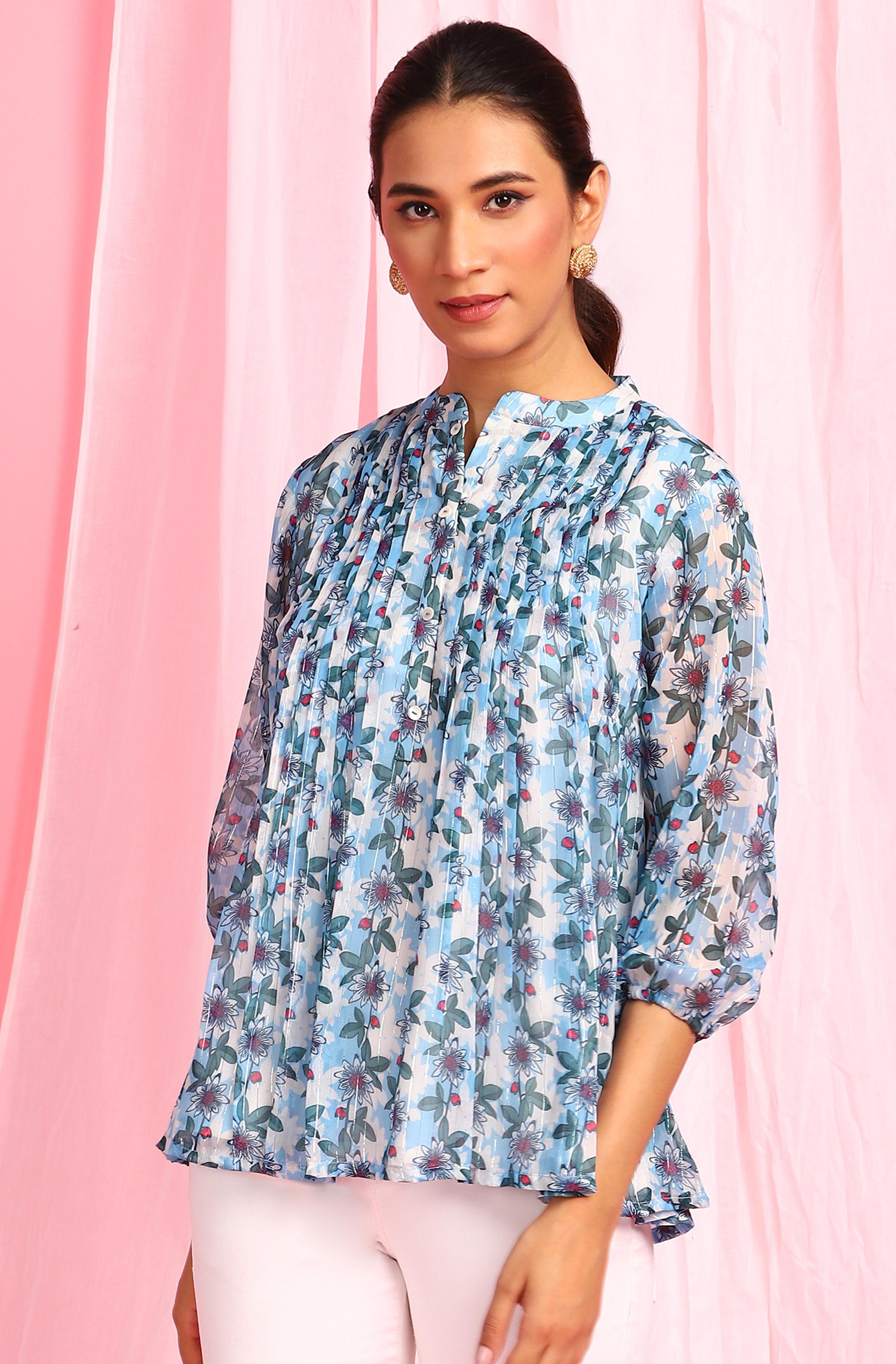 Janasya | Janasya Women's Blue Poly Georgette Top